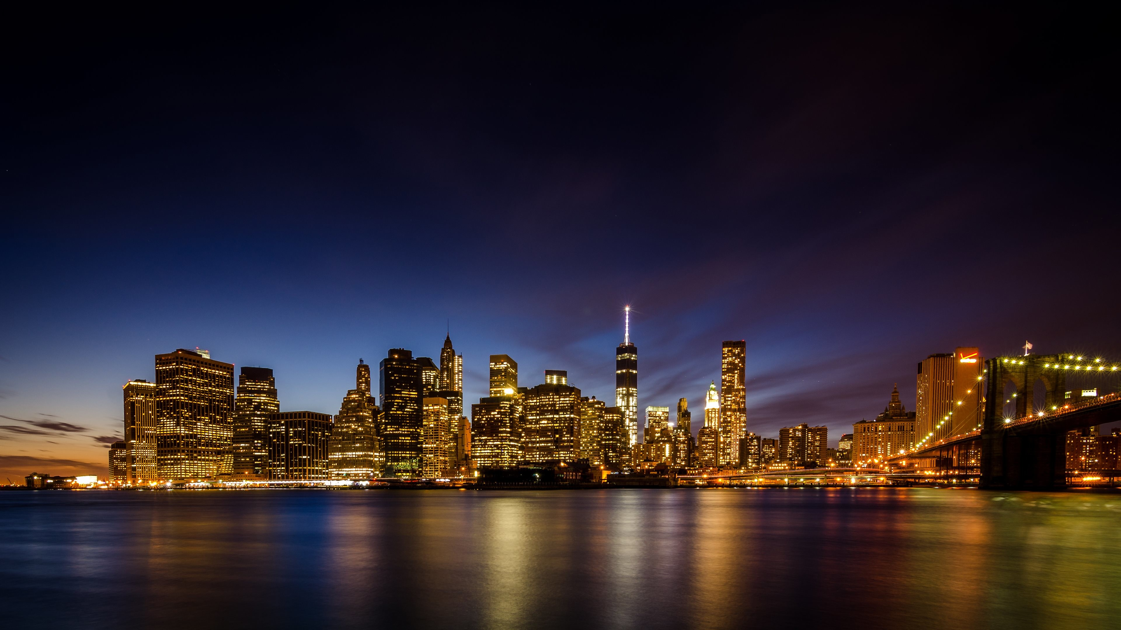 4K HD Wallpaper: New York City skyscrapers by night