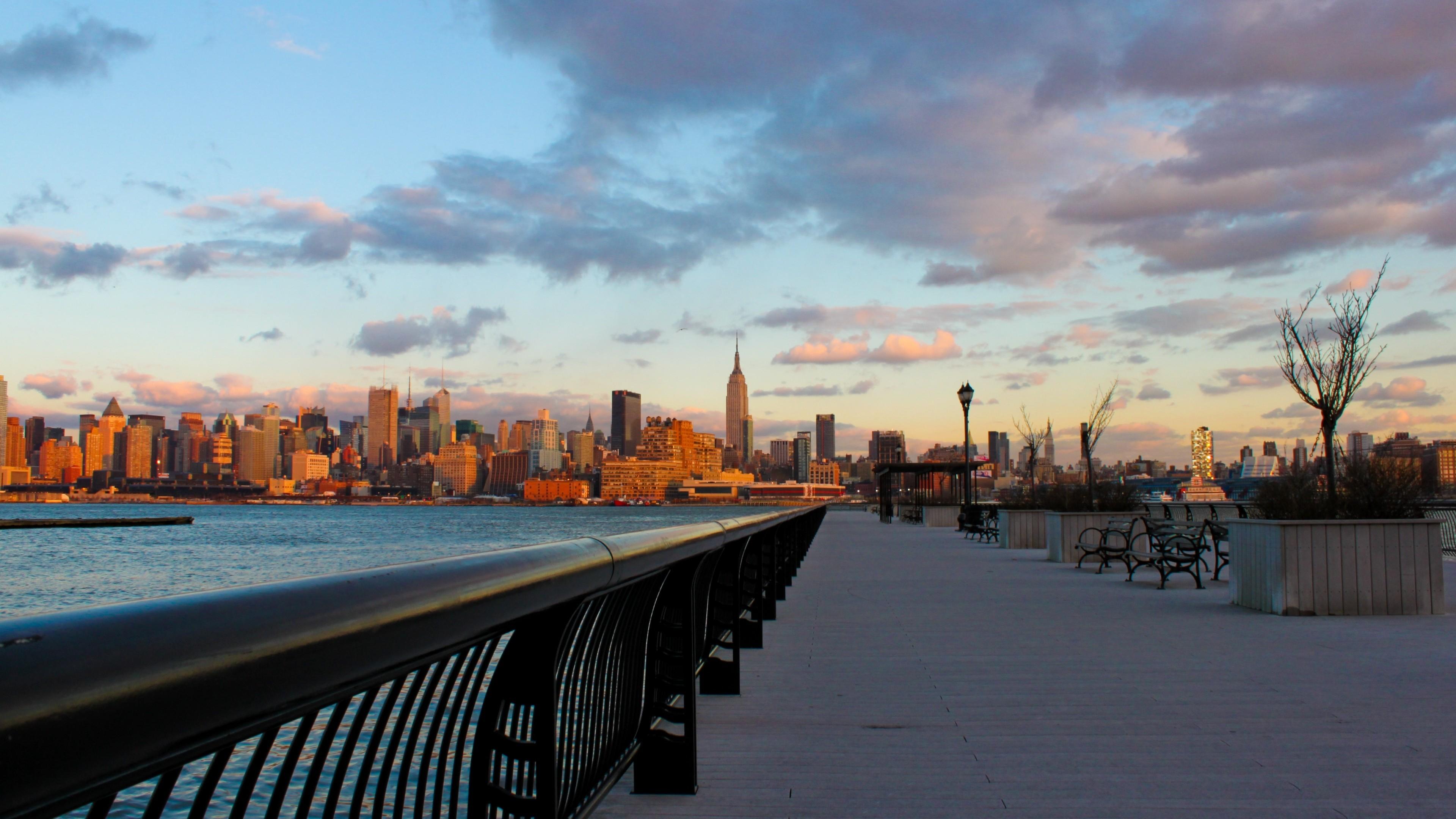 Wallpaper new york, city, night, water, sunset, skyscrapers,  embankment
