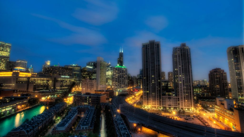 Preview wallpaper chicago, illinois, night, skyscrapers, city lights, hdr  3840×2160