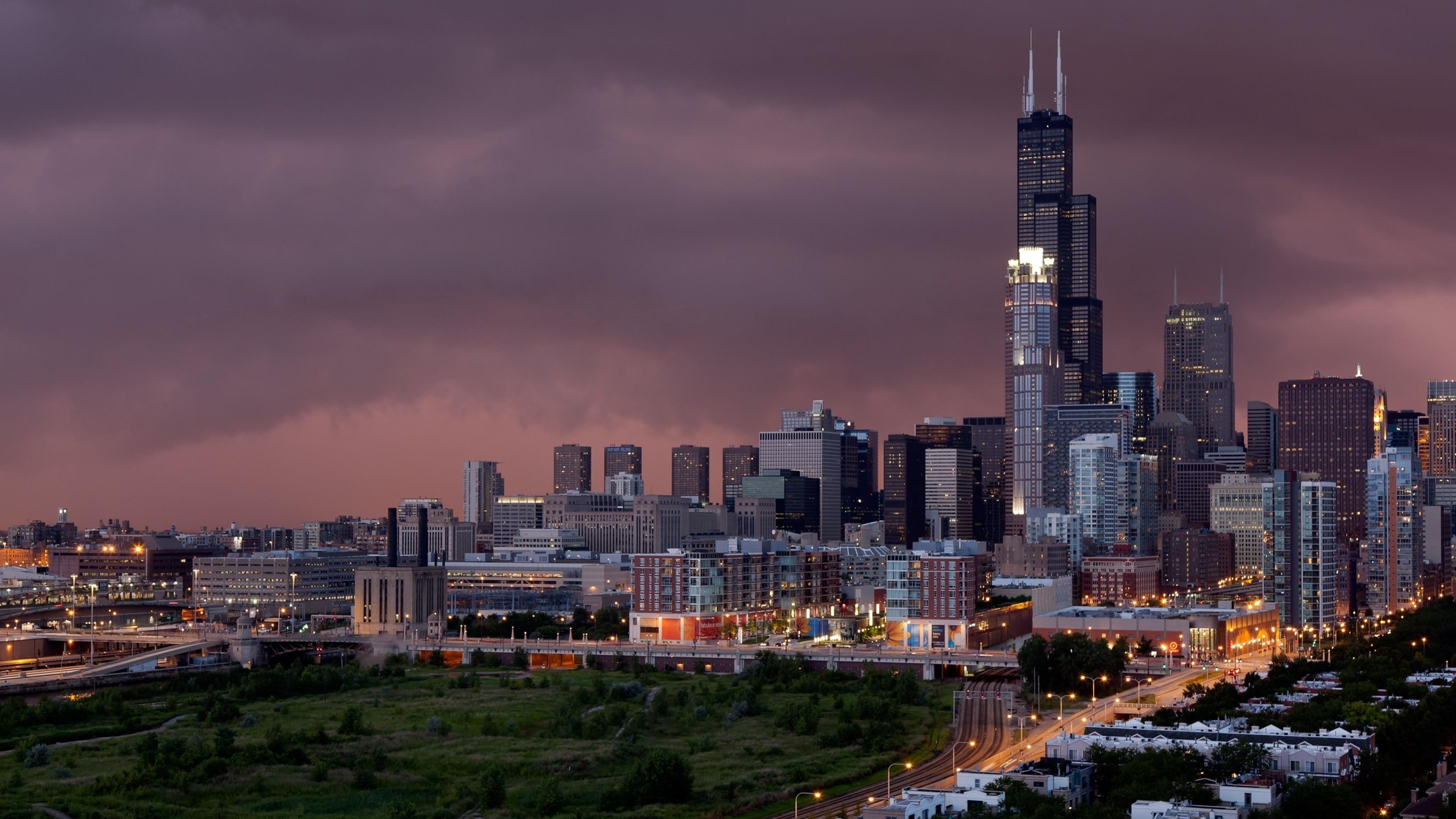 Wallpaper chicago, evening, city, buildings, skyscrapers
