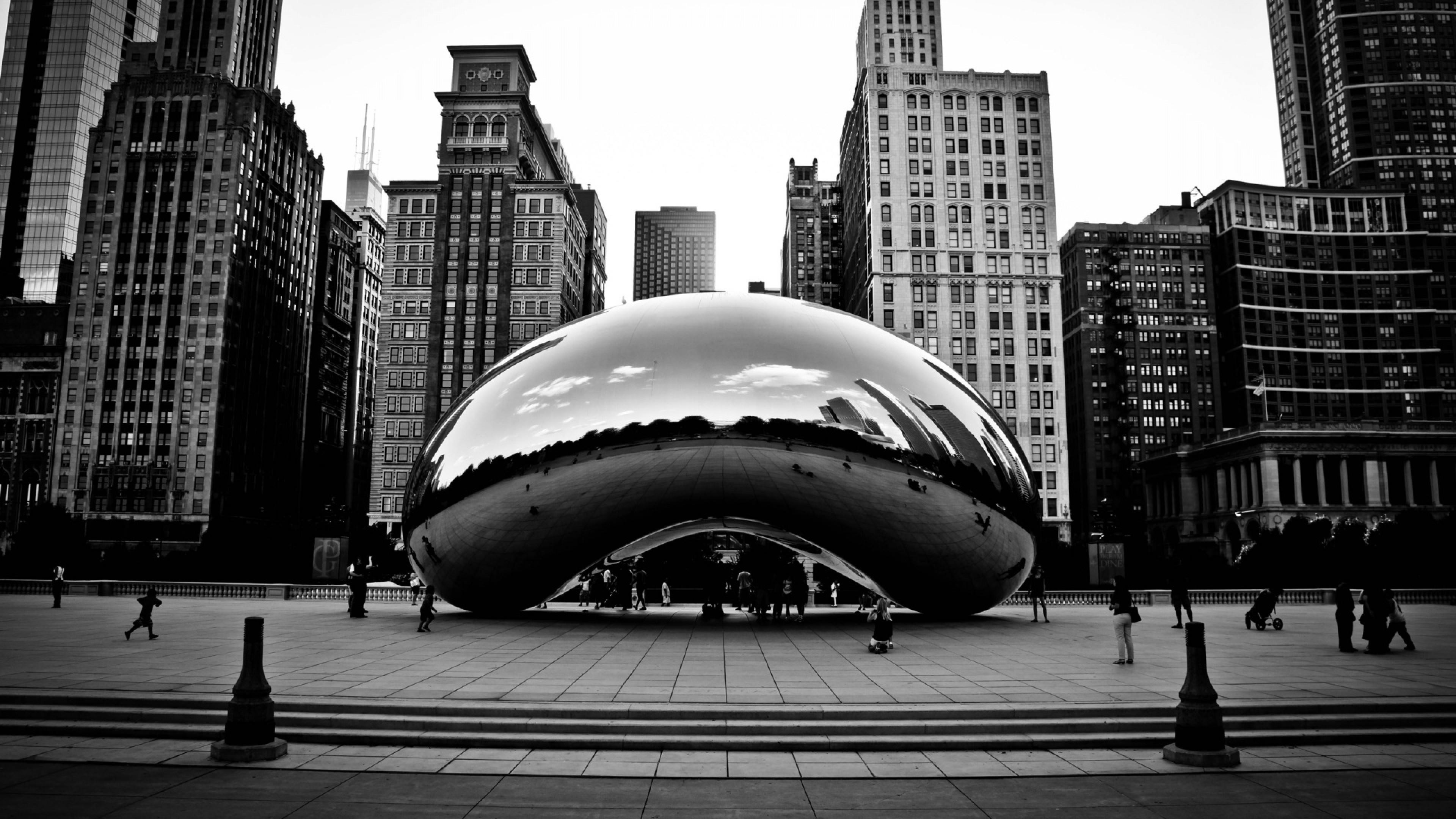Wallpaper chicago, millennium park, usa, skyscrapers, entrance