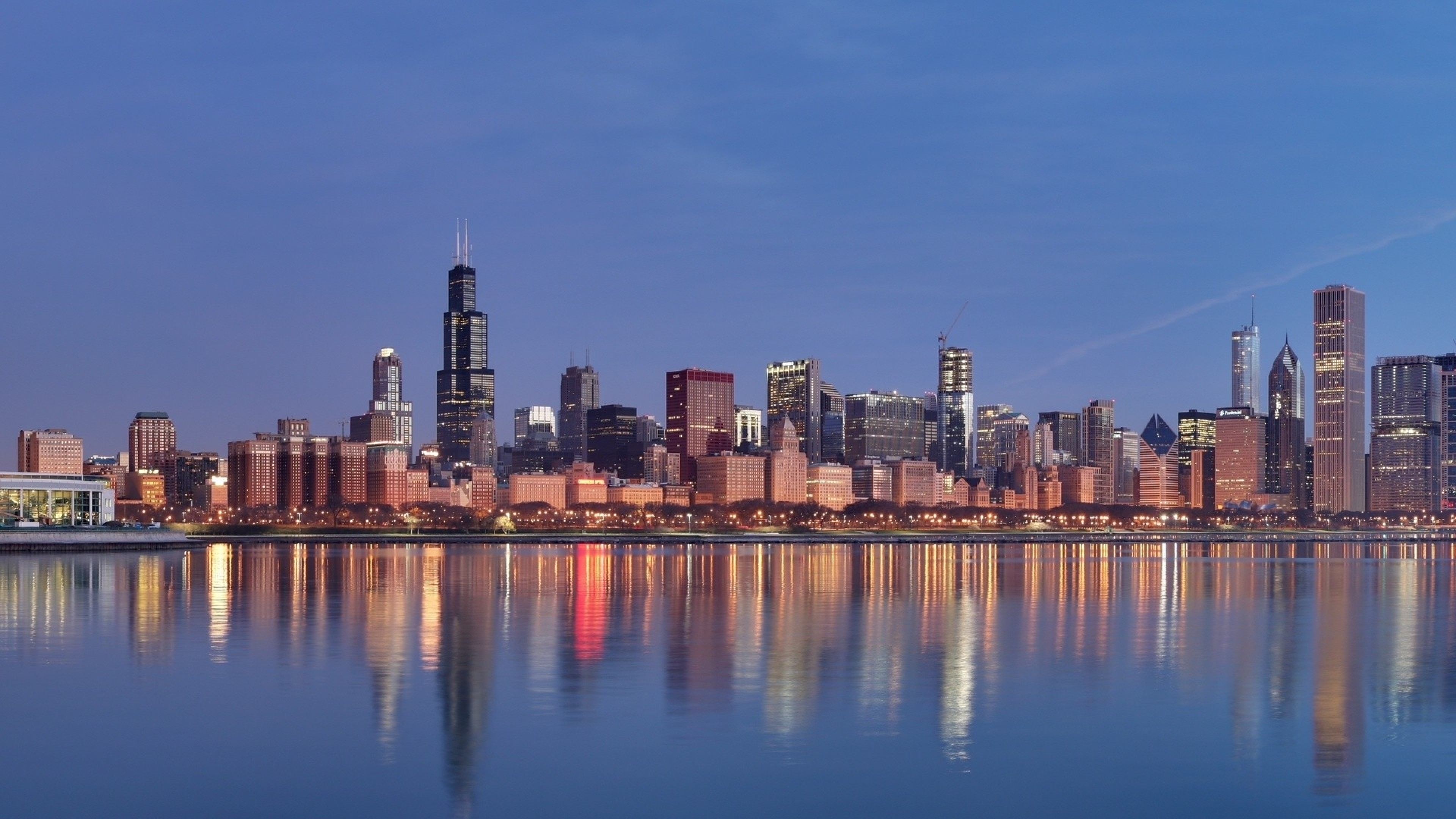 Wallpaper chicago, panorama, beach, building