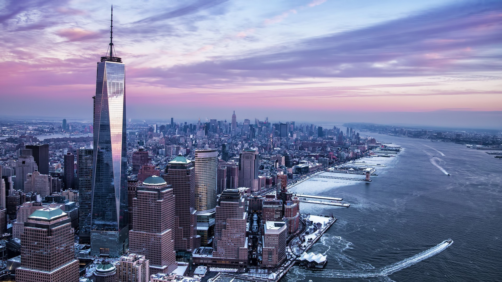 New York City, City, USA, Freedom Tower, Manhattan, Hudson River, Winter,  River, One World Trade Center Wallpapers HD / Desktop and Mobile Backgrounds