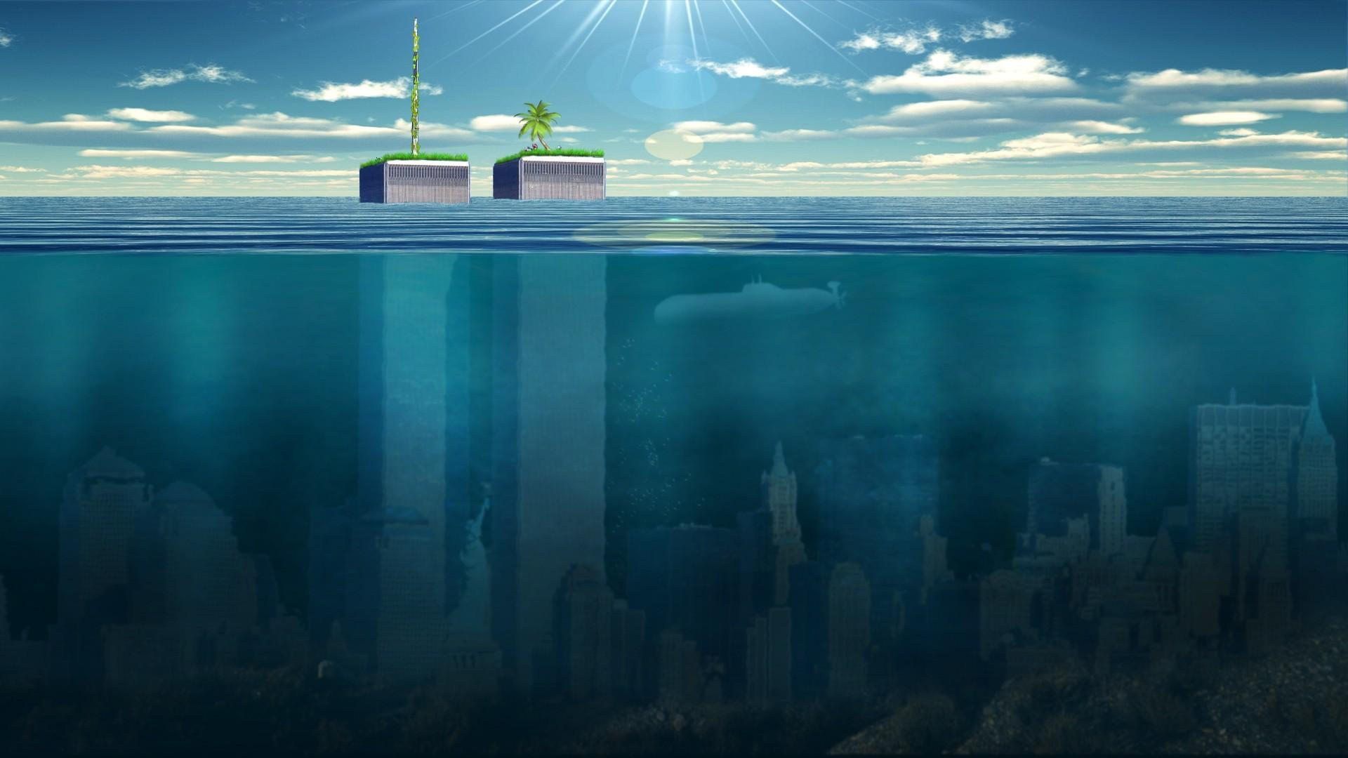 Ocean Post-apocalyptic Sea Underwater World Trade Center