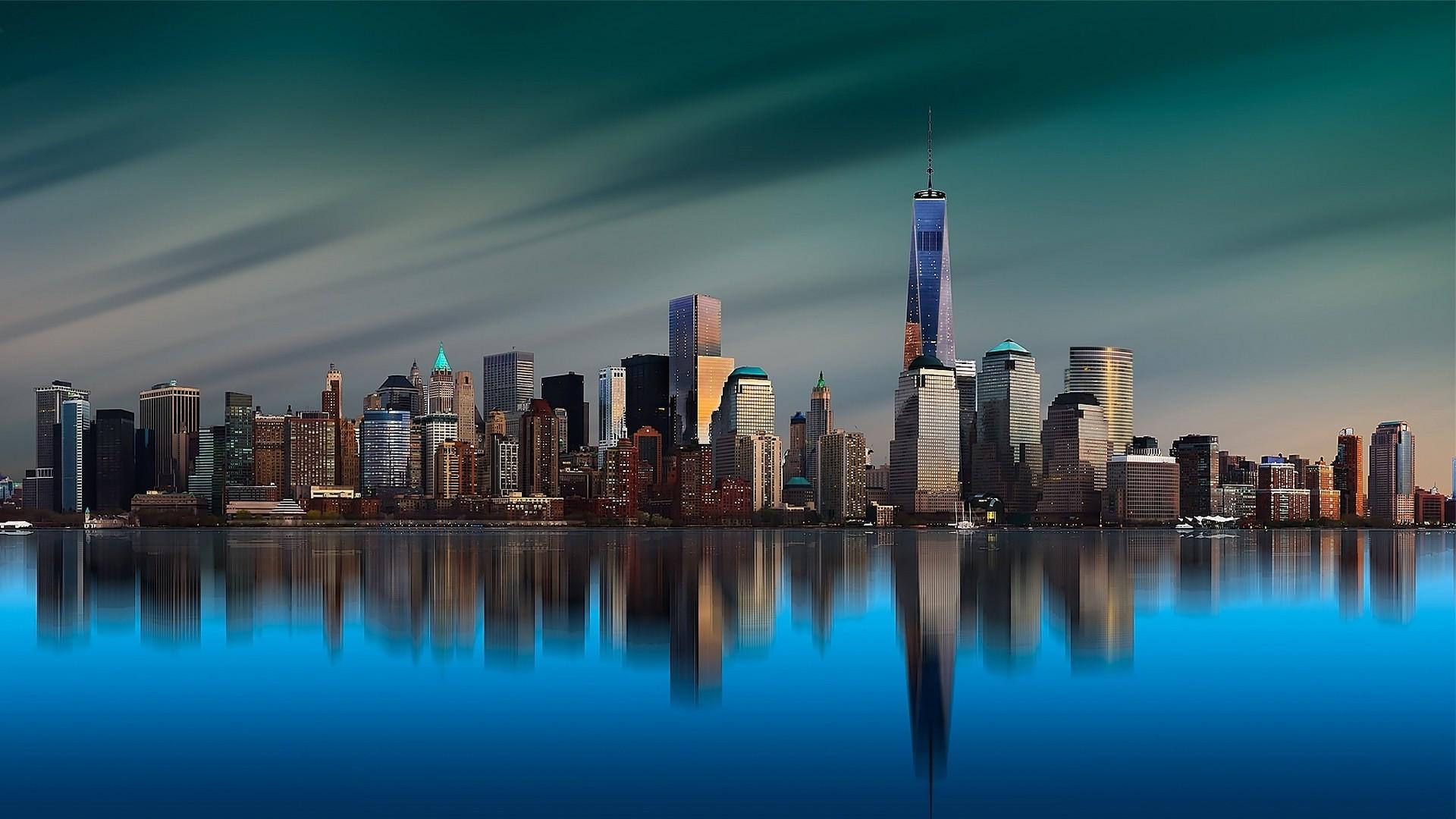 landscape, Architecture, World Trade Center, New York City, Manhattan,  Island, Skyscraper, Metropolis, Building, Reflection, Sunrise, Calm, Sea,  Water, …