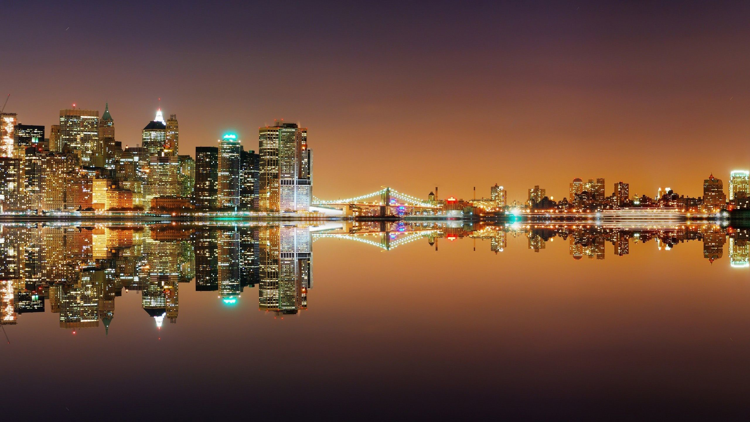 New York Skyline Reflection At Night wallpaper