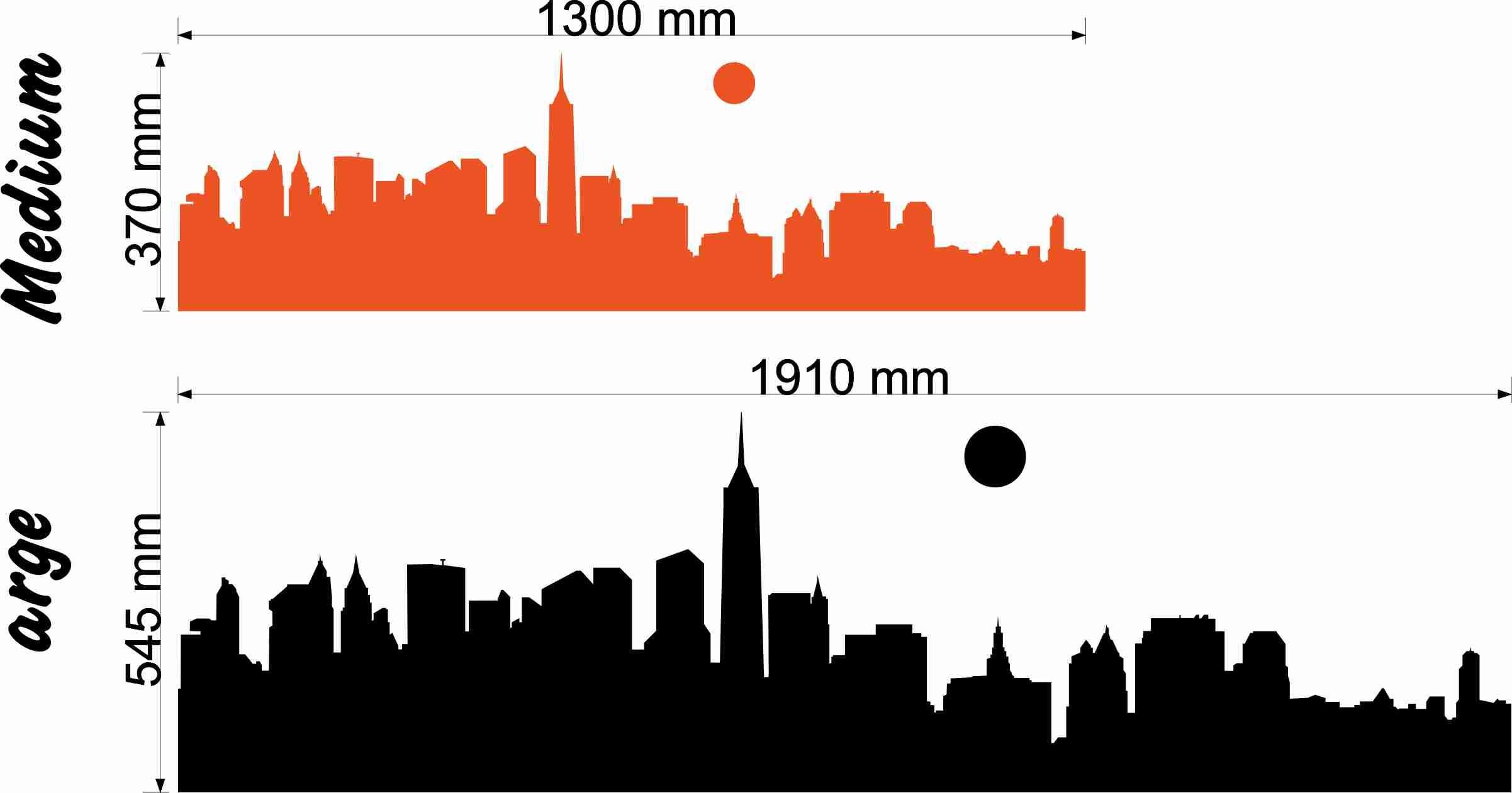 … New York skyline size chart wall art decal vinyl sticker