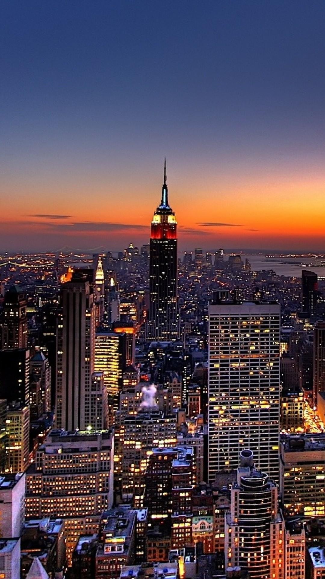 Wallpaper new york, night, skyscrapers, top view