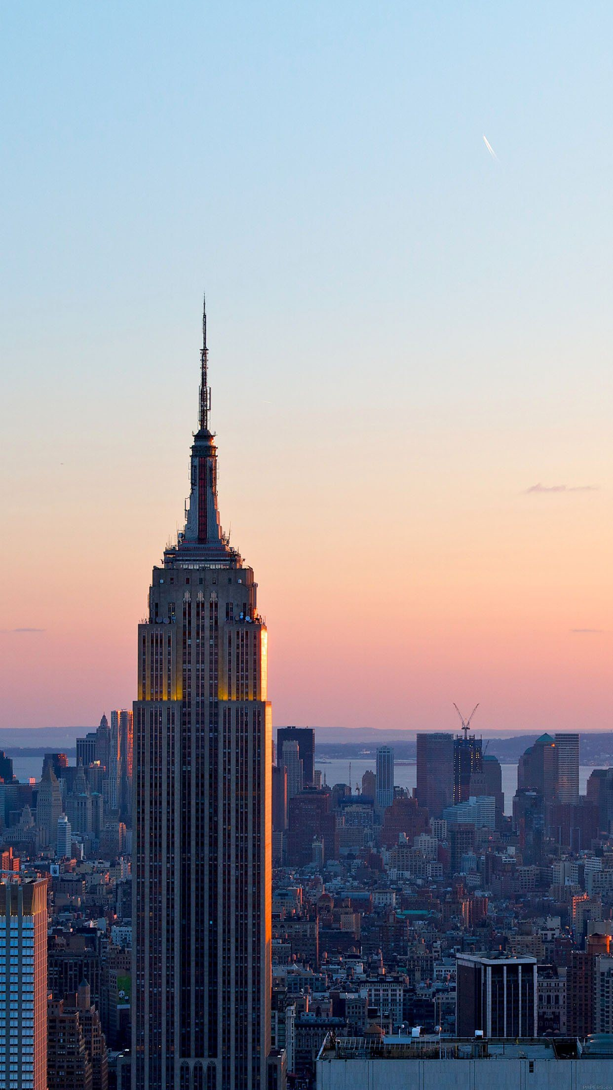 dusk new york skyline city iphone 7 wallpaper