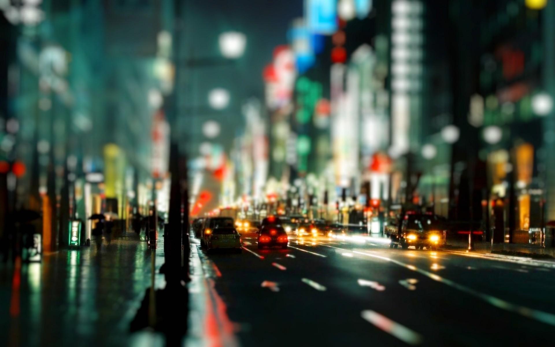 Street Lights Bokeh Cars Night Time Wide HD Wallpaper – OmWallpapers