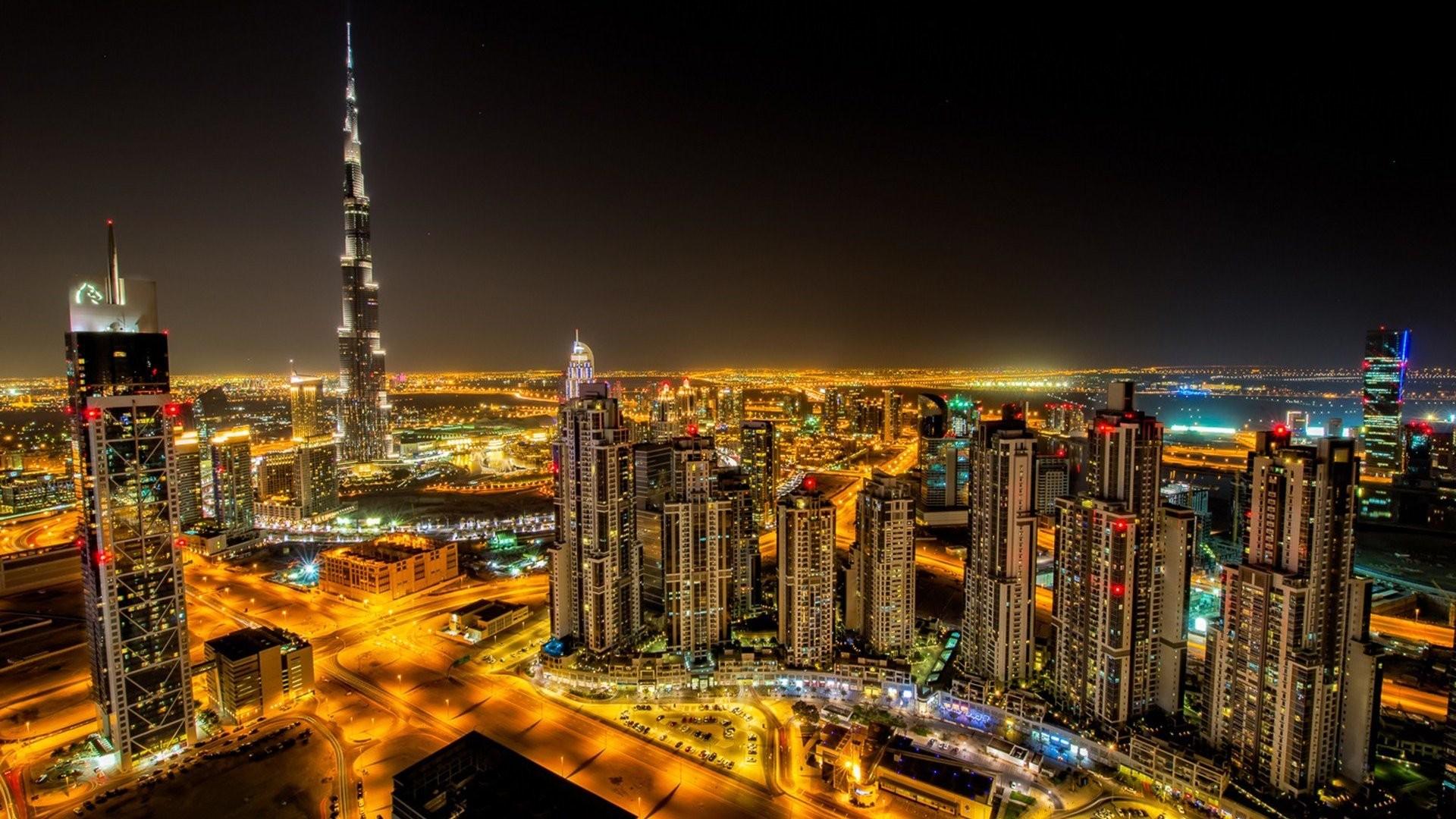 Buildings City Lights Dubai Night Time Roads Skyscrapers