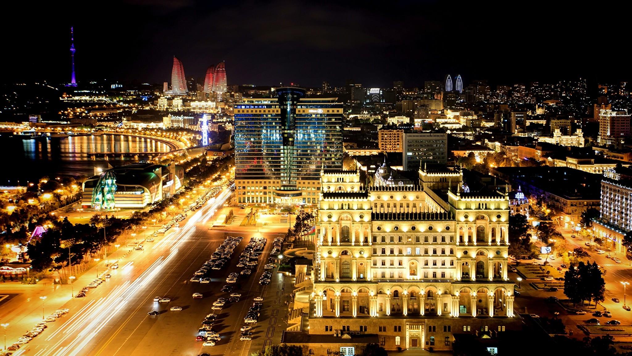 Wallpaper Baku Azerbaijan night time Cities Building Night Houses