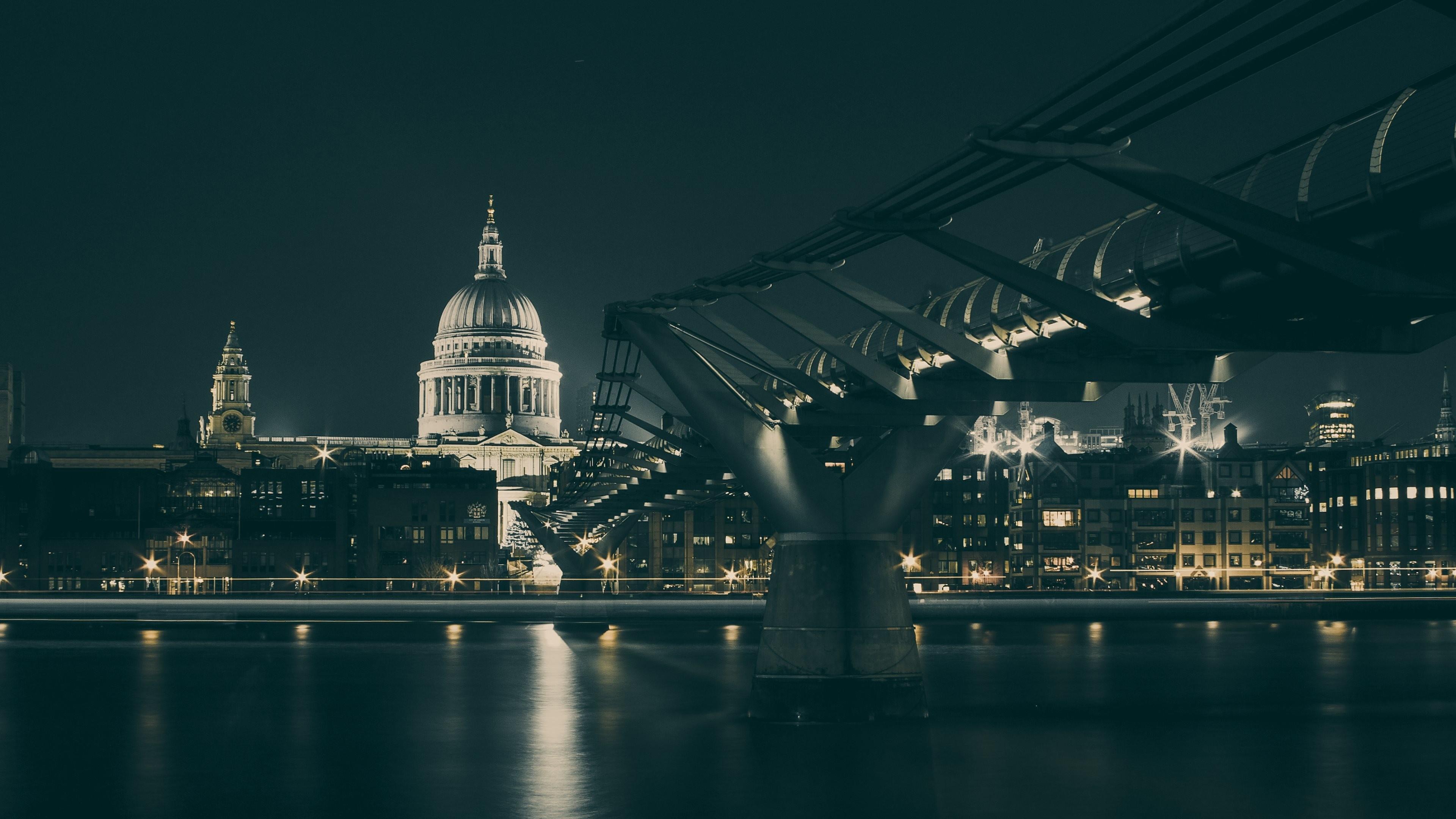 Architecture Bridges Buildings Cities City Lights London Night Time Saint  Paul39s Cathedral United Kingdom …