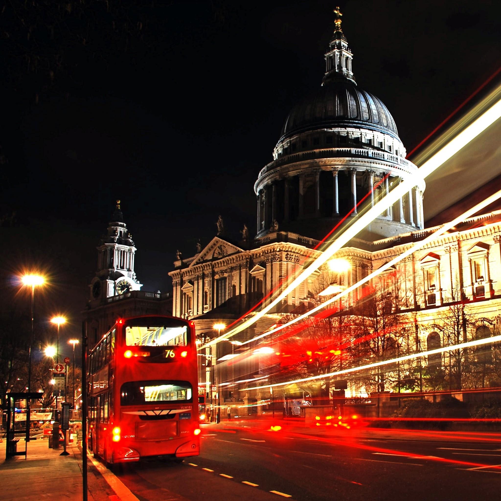 Preview wallpaper london, city, bus, night 2048×2048