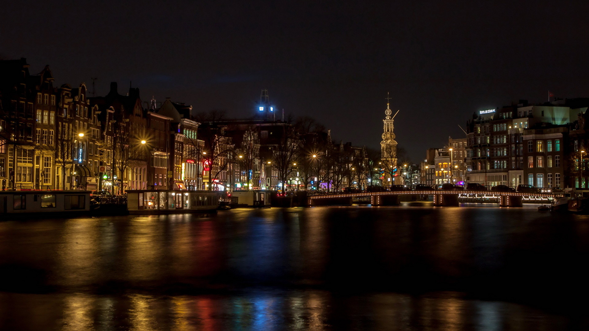 Wallpaper Amsterdam Netherlands Rivers night time Cities Building  Night Houses