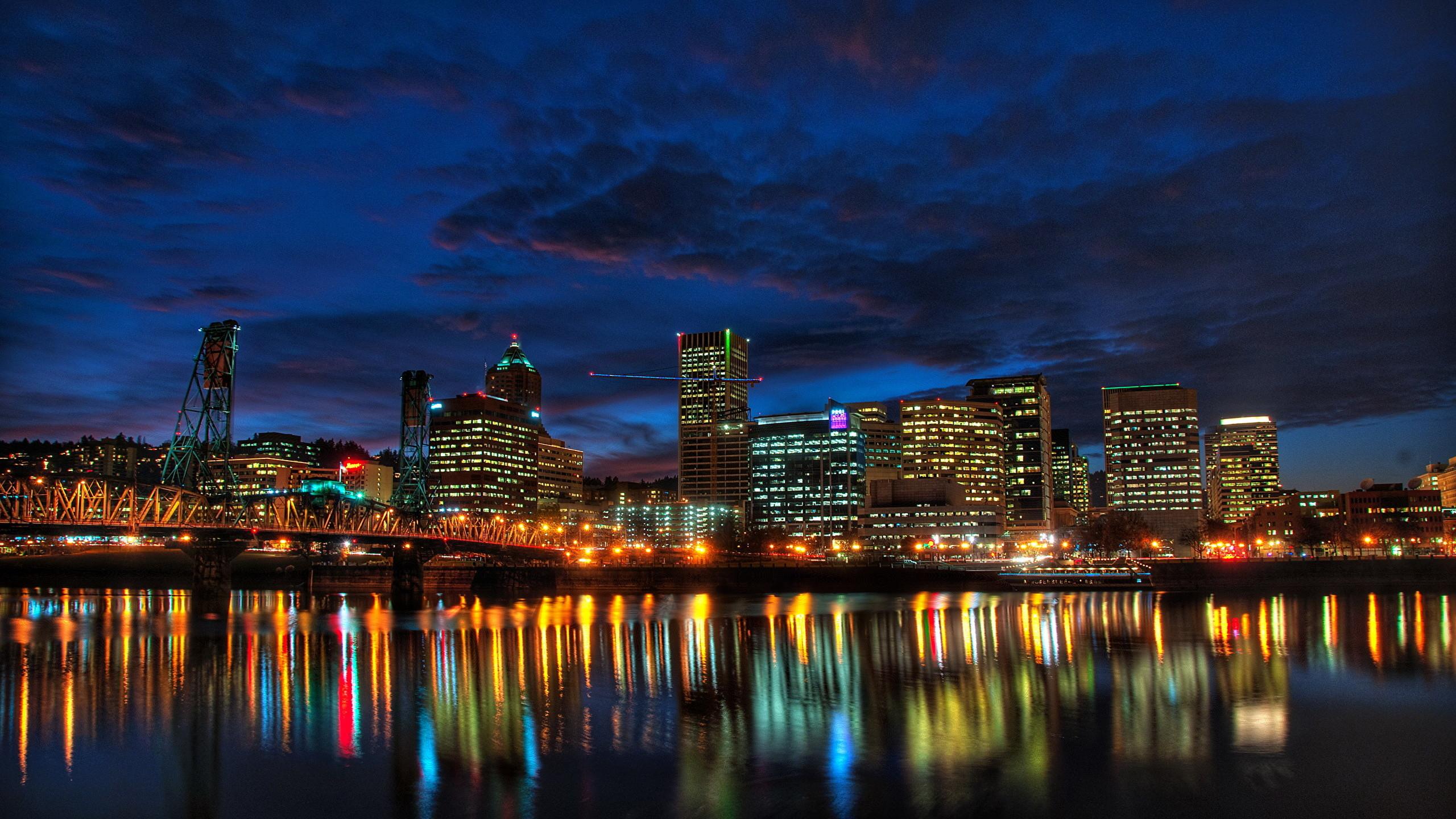Images USA Portland Oregon Coast night time Cities Houses Night  Building