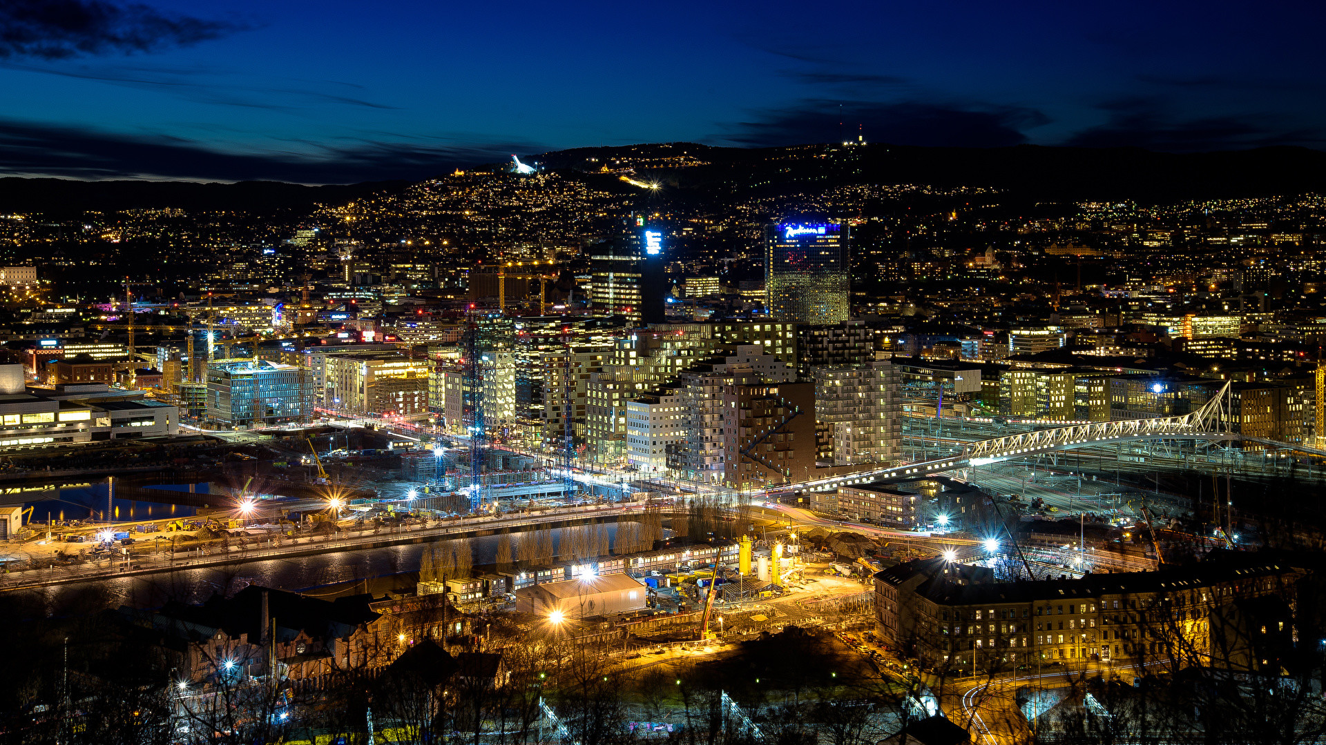 Wallpapers Norway Megalopolis Oslo night time Cities Building  Megapolis Night Houses
