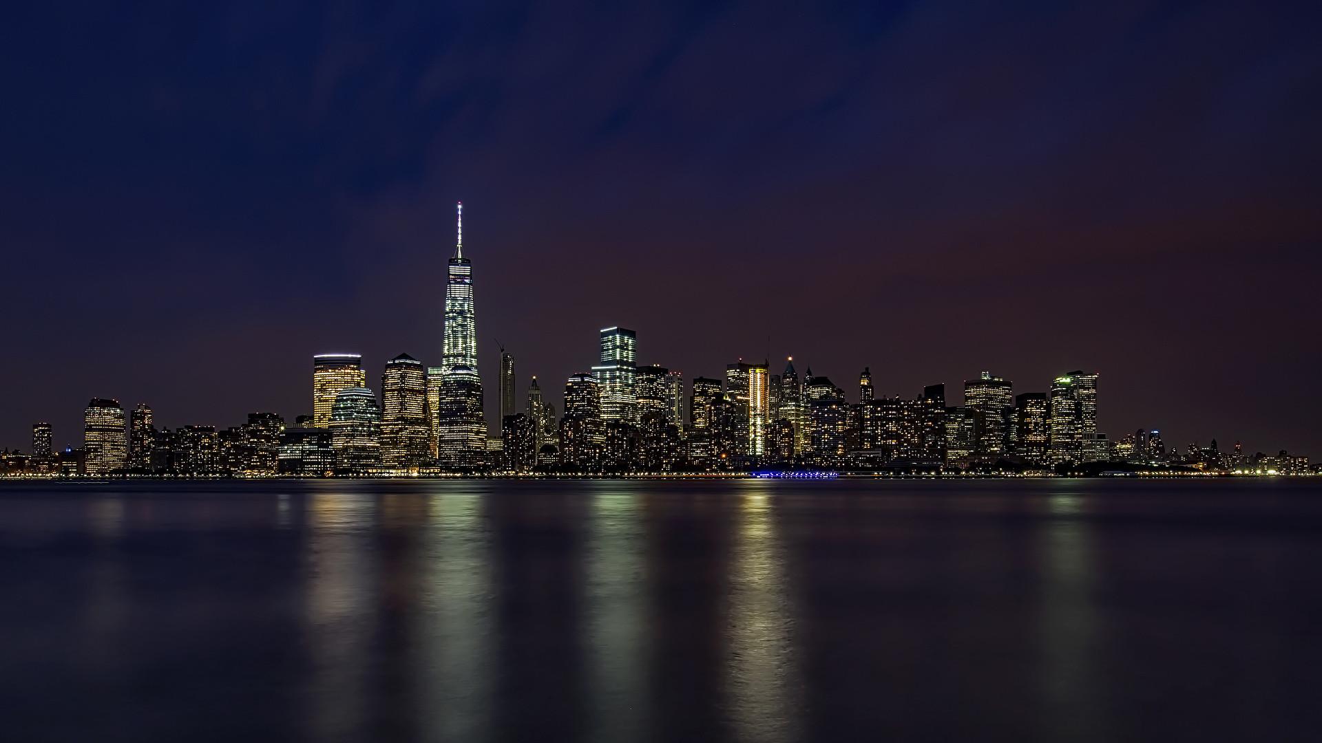 Images Manhattan New York City USA Ocean Coast night time Cities  Night