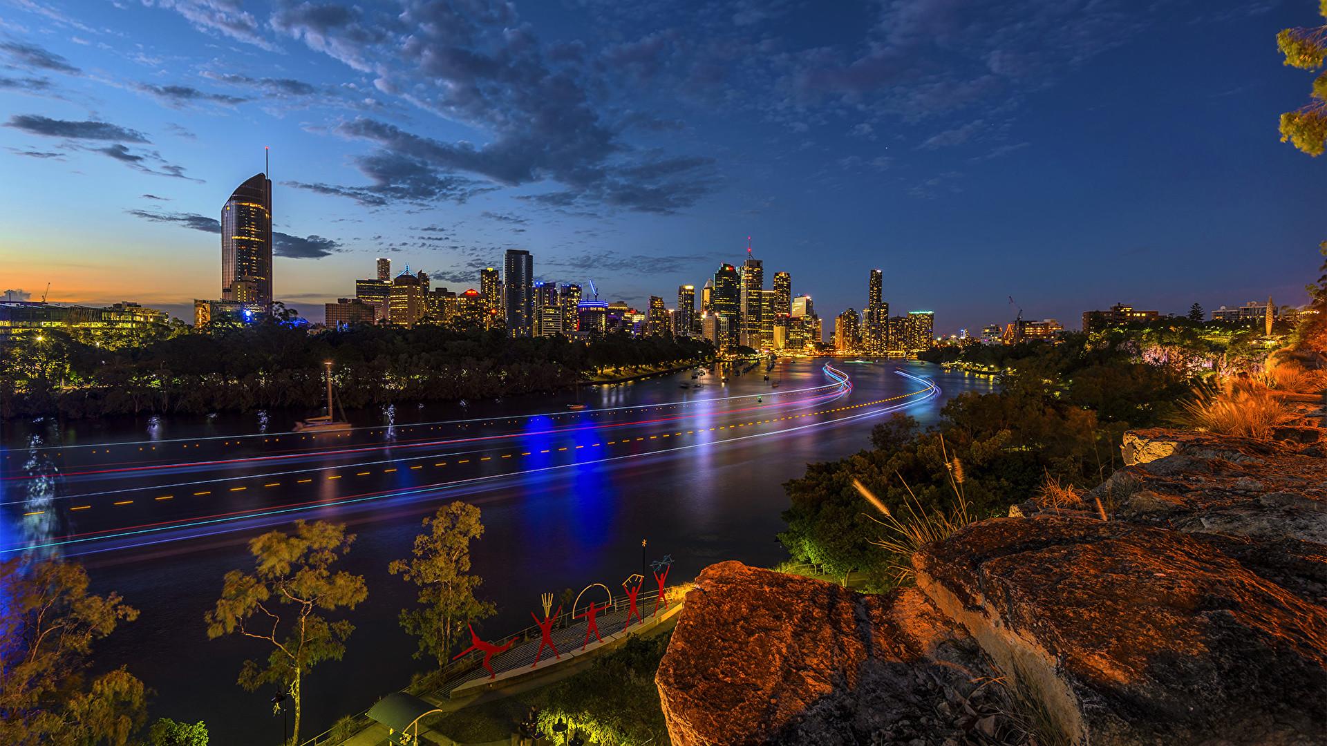 Wallpaper Brisbane Australia Sky Roads Stones night time Cities Building  Night Houses
