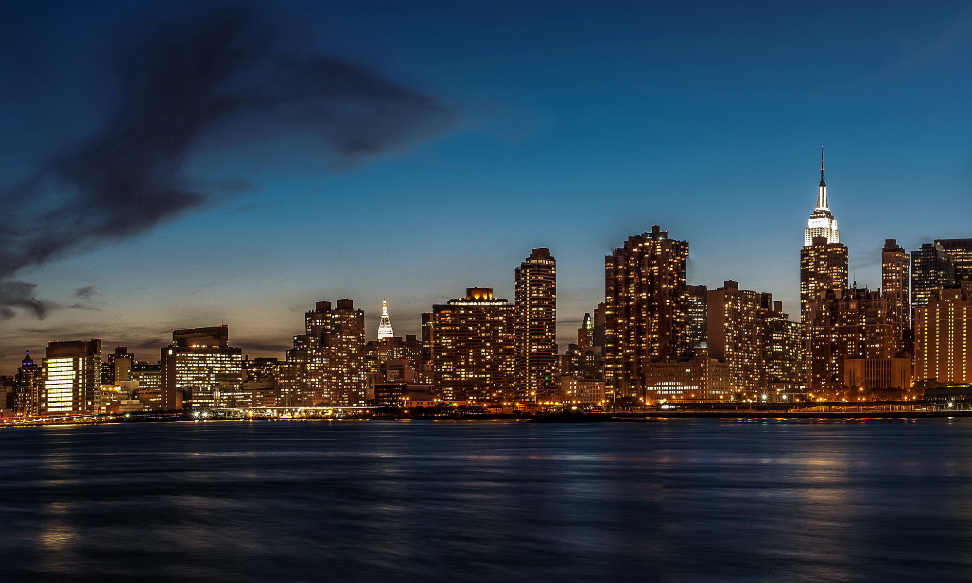 Picture New York City USA Sky night time Cities Clouds Night