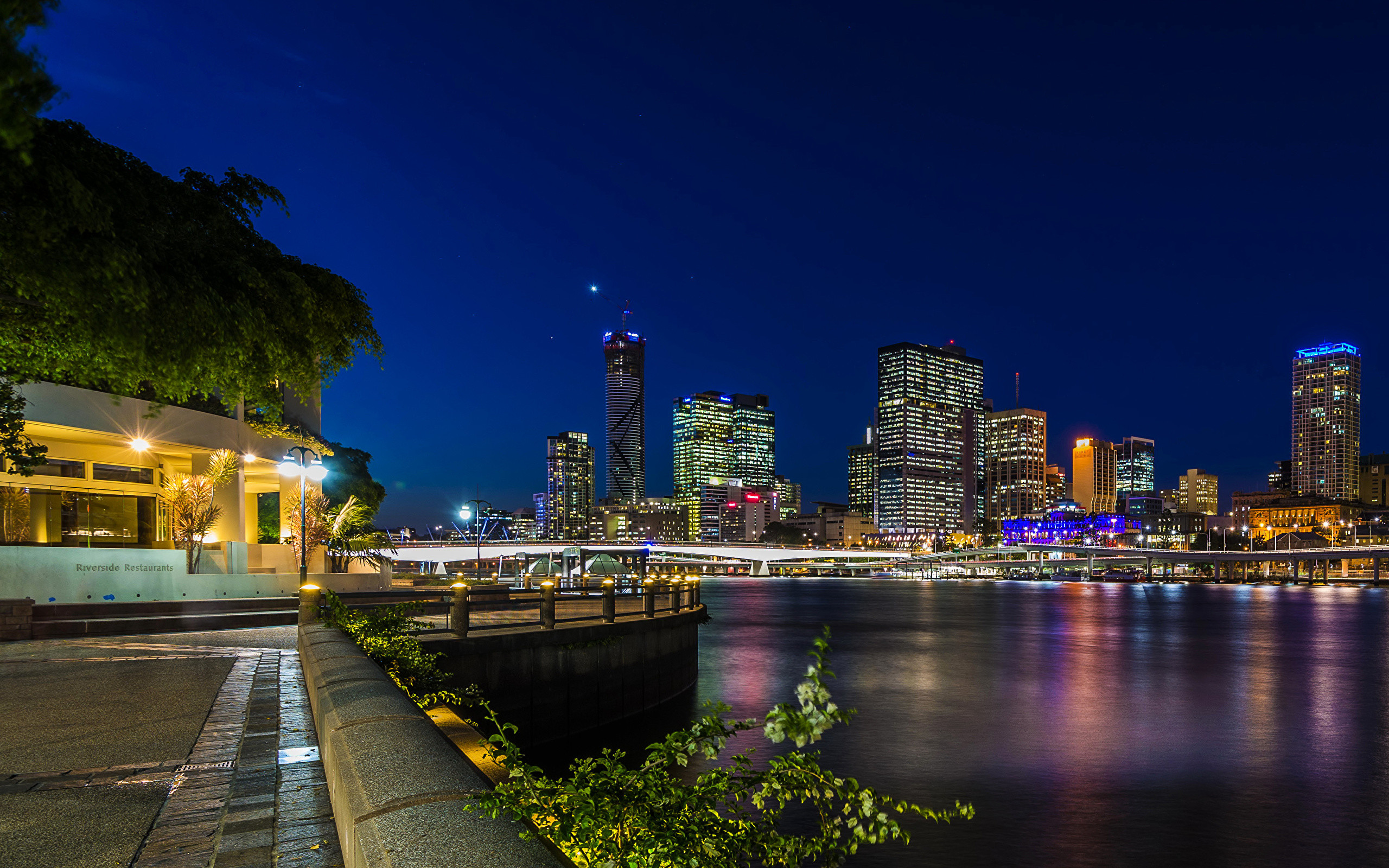Wallpaper Brisbane Australia Night Rivers Waterfront Street lights Cities  Houses night time Building