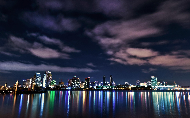 Wallpaper San Diego California USA Night Cities Clouds night time