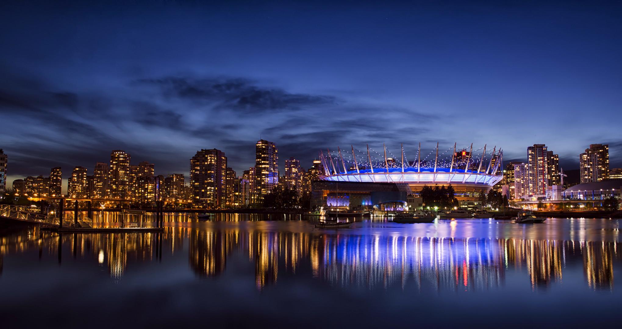 Photos Vancouver Canada Coast night time Cities Night