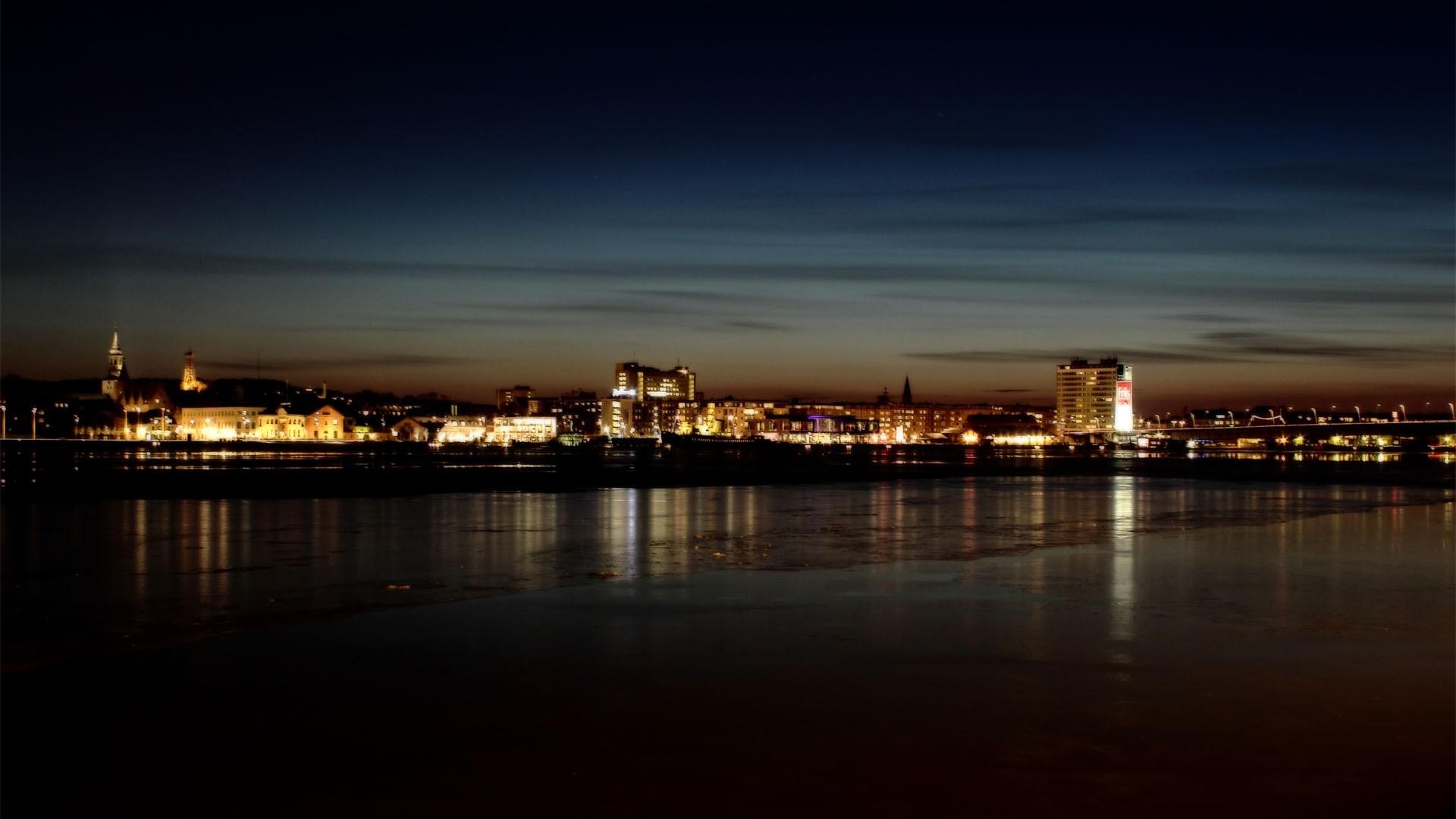 Wallpaper light, night, city, river, shore