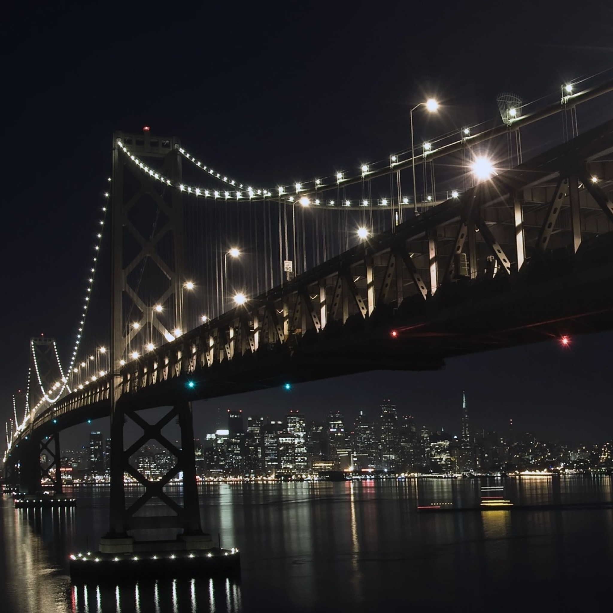 Wallpaper city, bridge, sky, nighttime