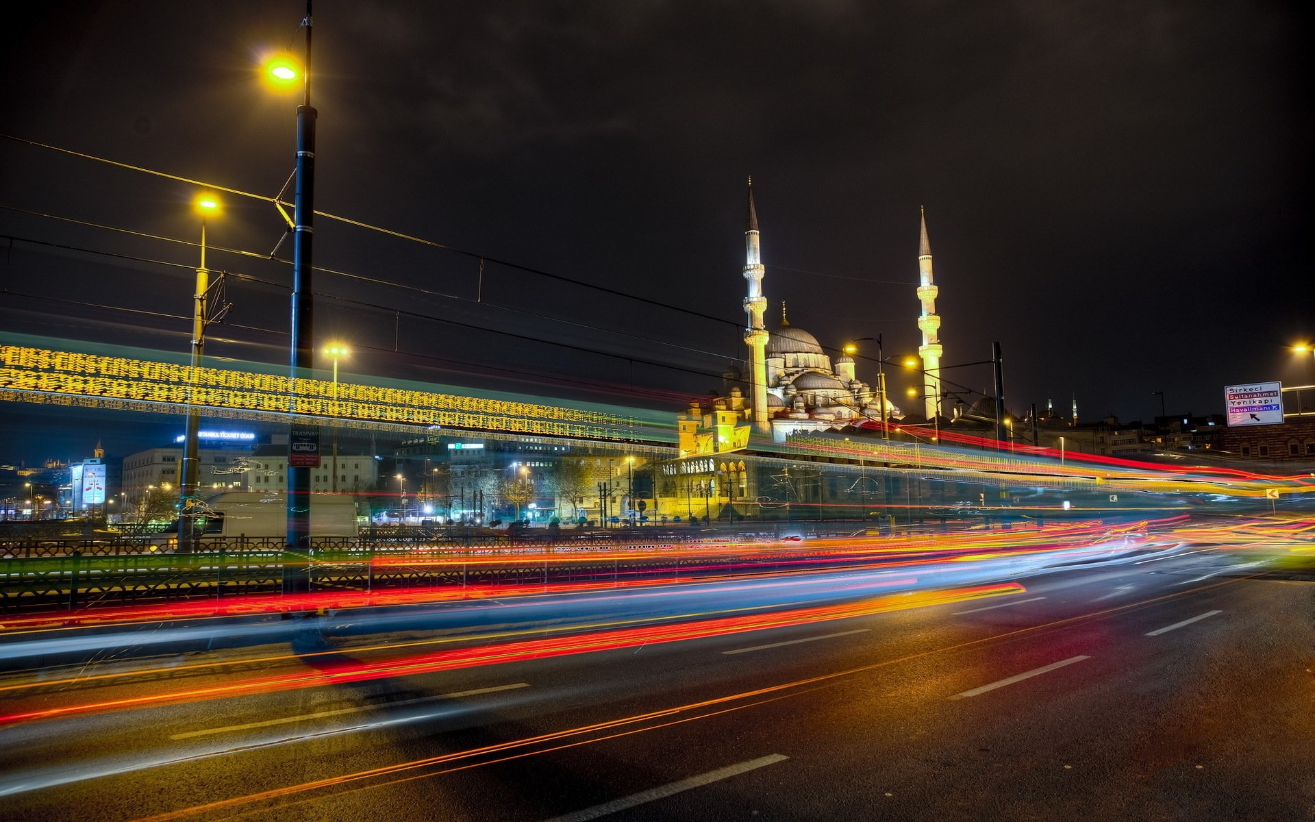 Photography – Time-lapse Istanbul Night City Architecture Light Mosque  Turkey Wallpaper