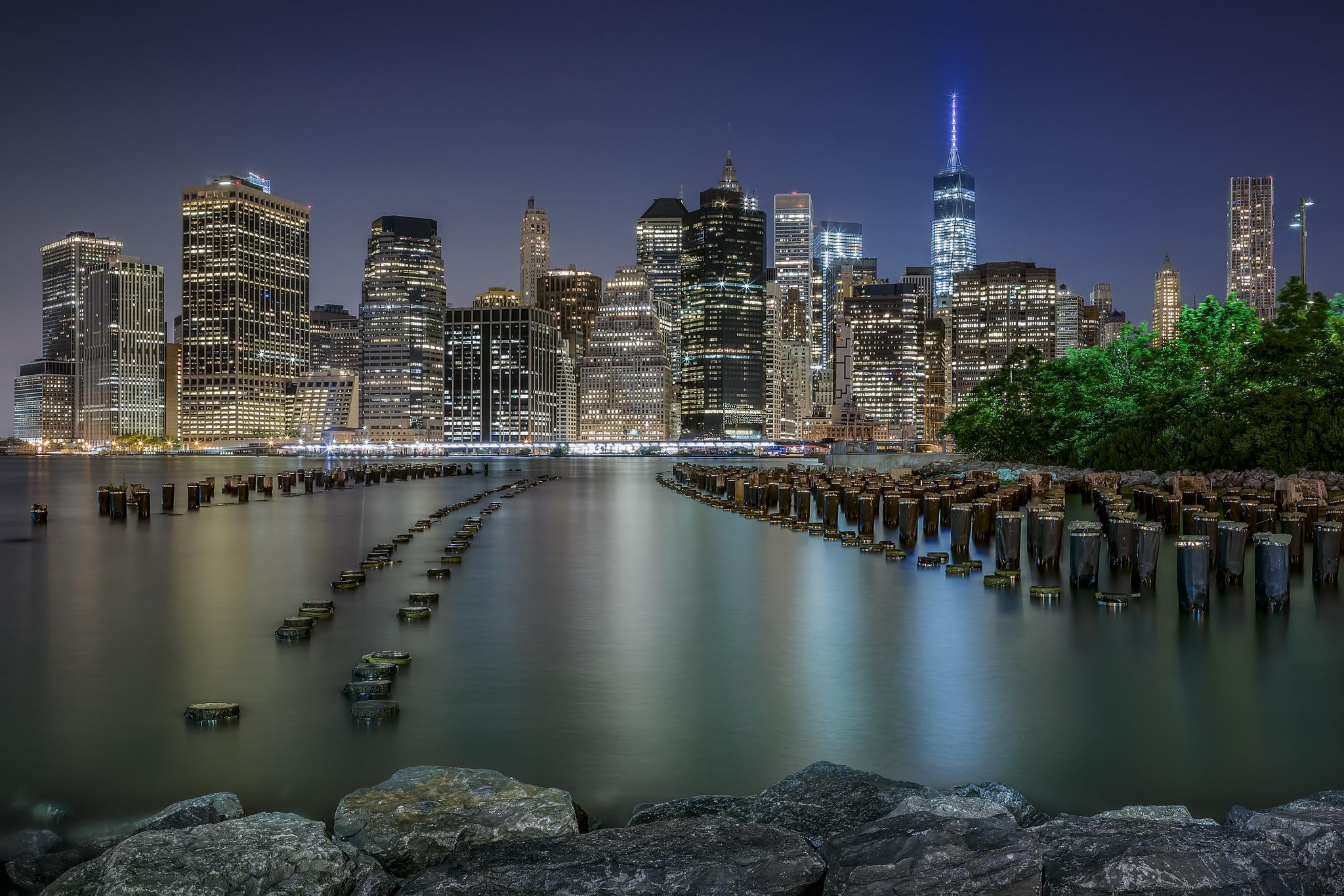 Wallpaper Manhattan New York City USA Night Cities Houses night  time Building
