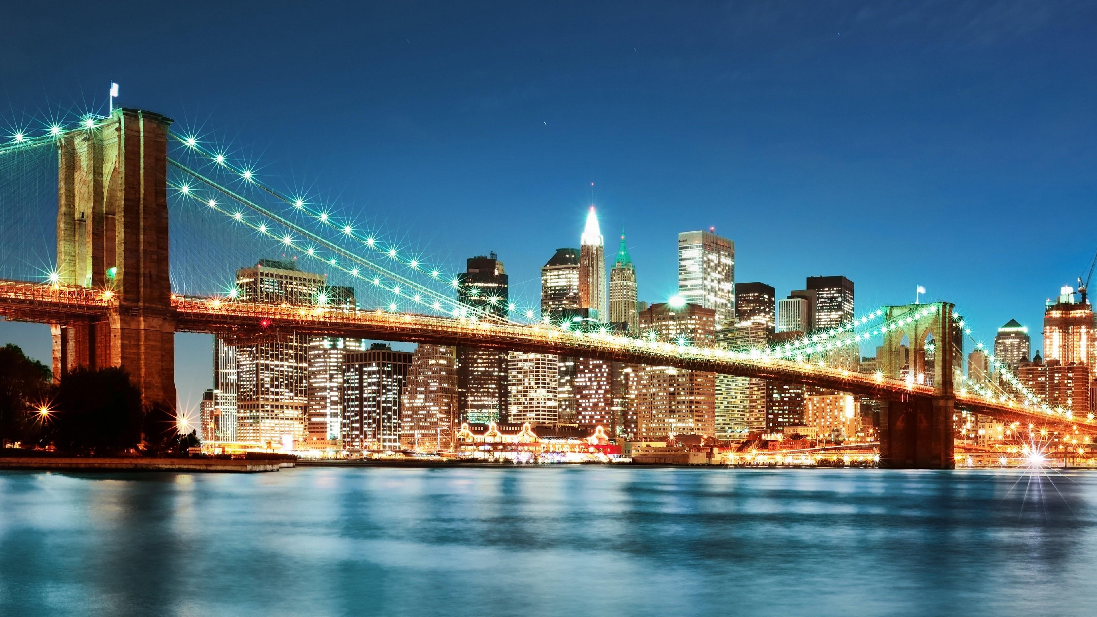 Bridge Buildings City Lights New York Night Time River Skyscrapers …