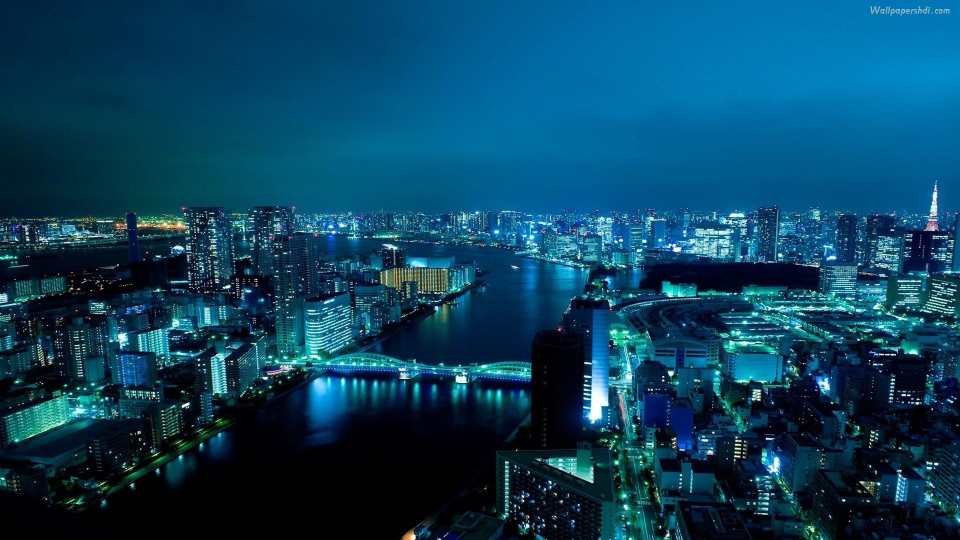 16 Gorgeous Pictures of the Tokyo Skyline – nighttime view of the Tokyo  waterfront, with Eitai Bridge in the center view.