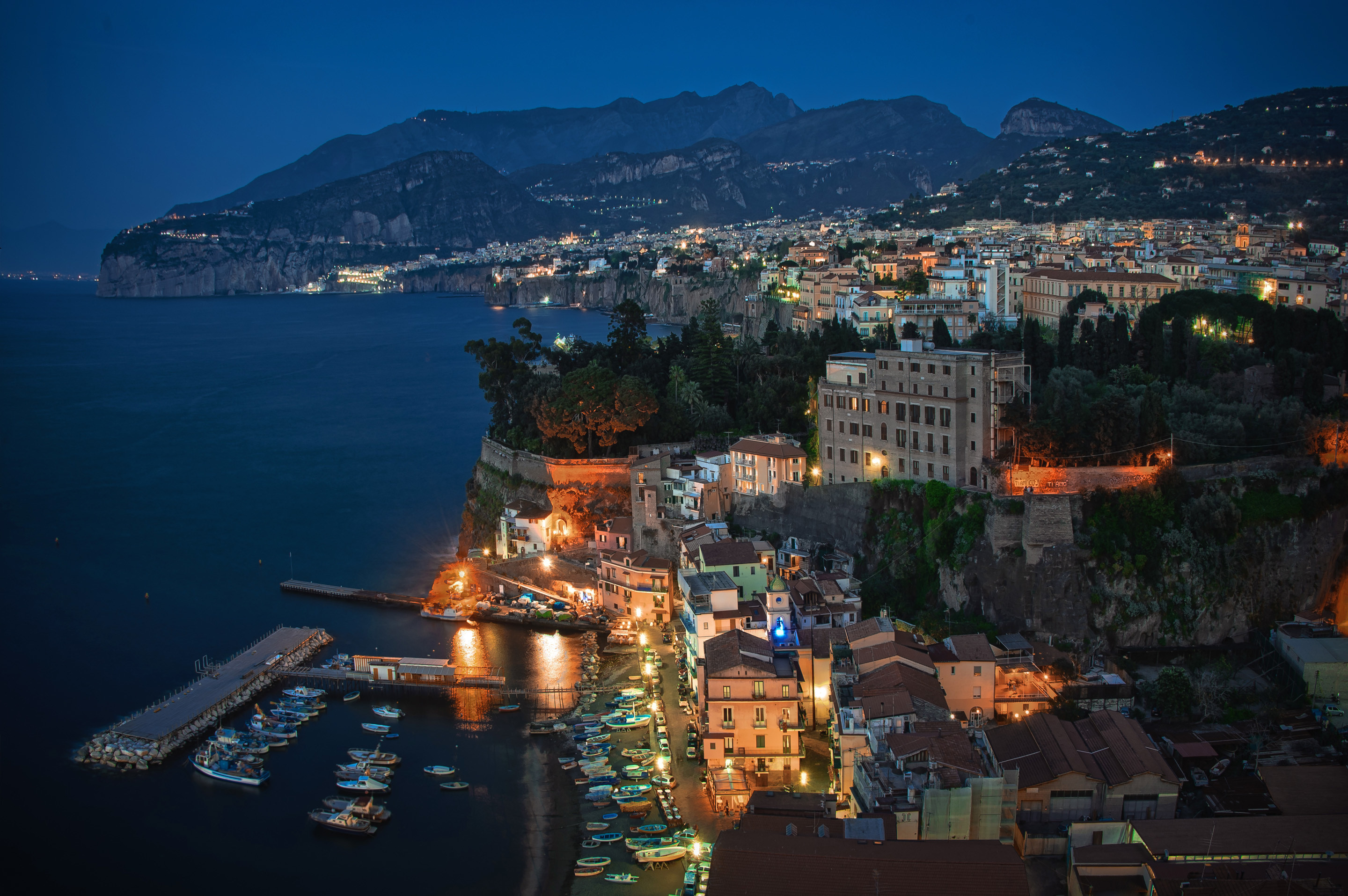 Wallpapers Sorrento Italy Coast From above night time Cities Houses  Night Building