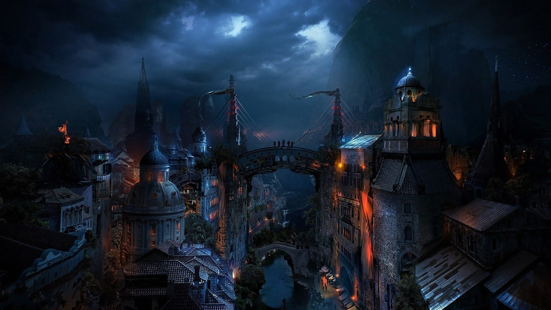 Cityscapes Graphics Medieval Buildings Nighttime