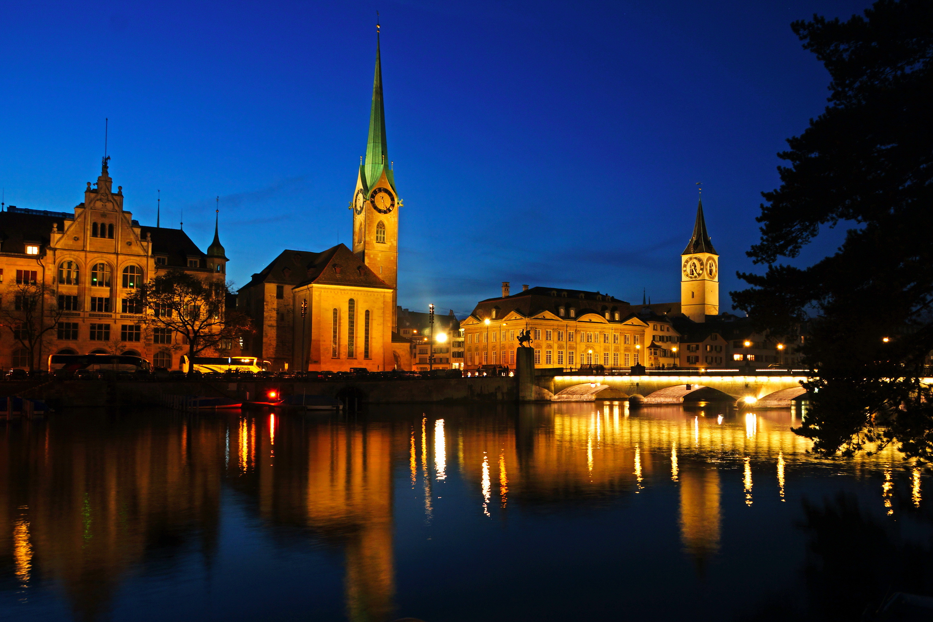 Wallpapers Zurich Switzerland Rivers night time Cities Night