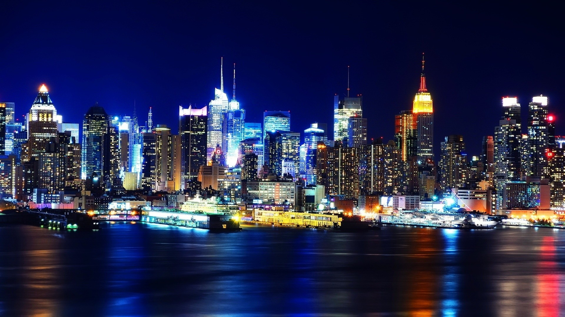 Preview wallpaper new york, night, lights, river, reflection 1920×1080