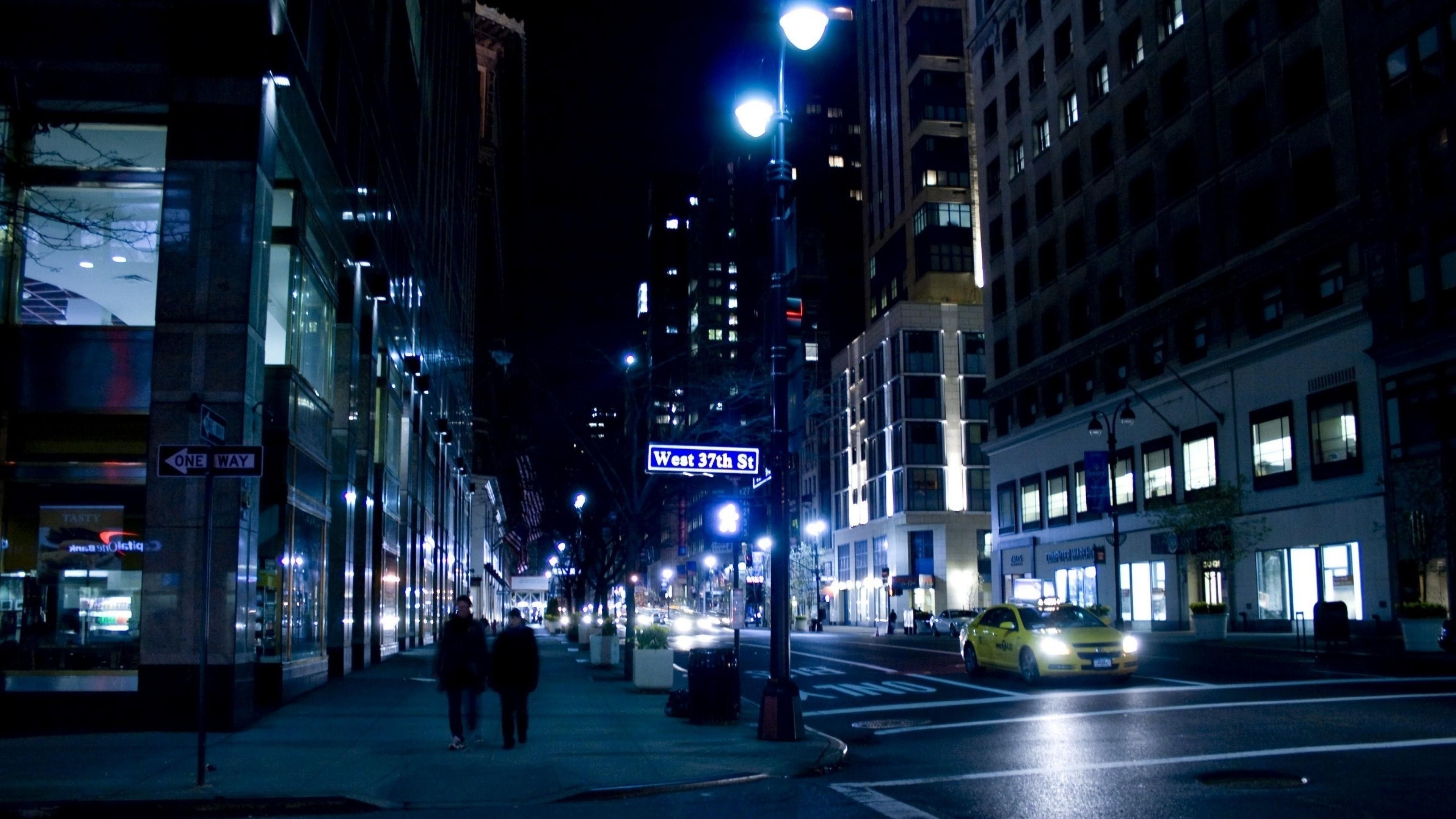 Wallpaper nyc, night, street, new york