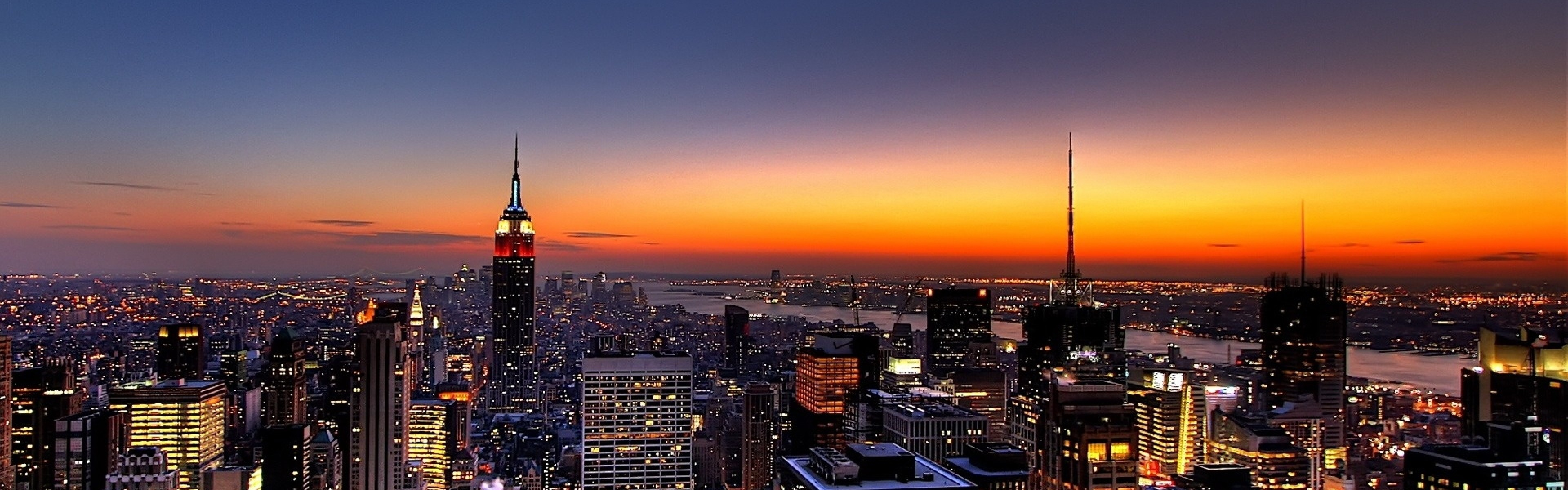 Preview wallpaper new york, night, skyscrapers, top view 3840×1200