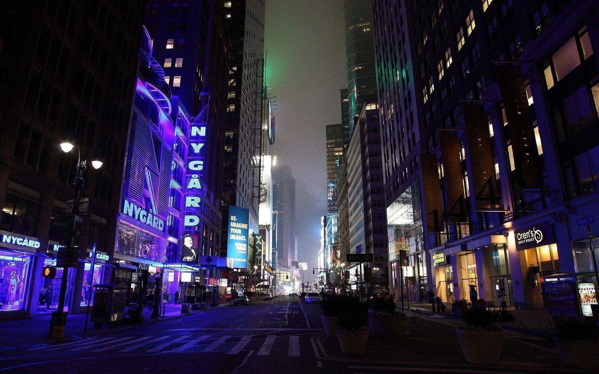 Download Wallpaper City??, Night, City lights, Street .