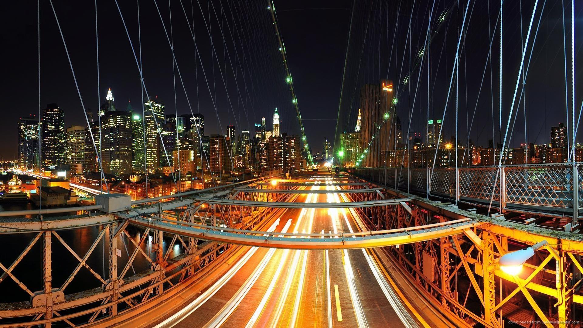 HD New York bridge at night wallpaper