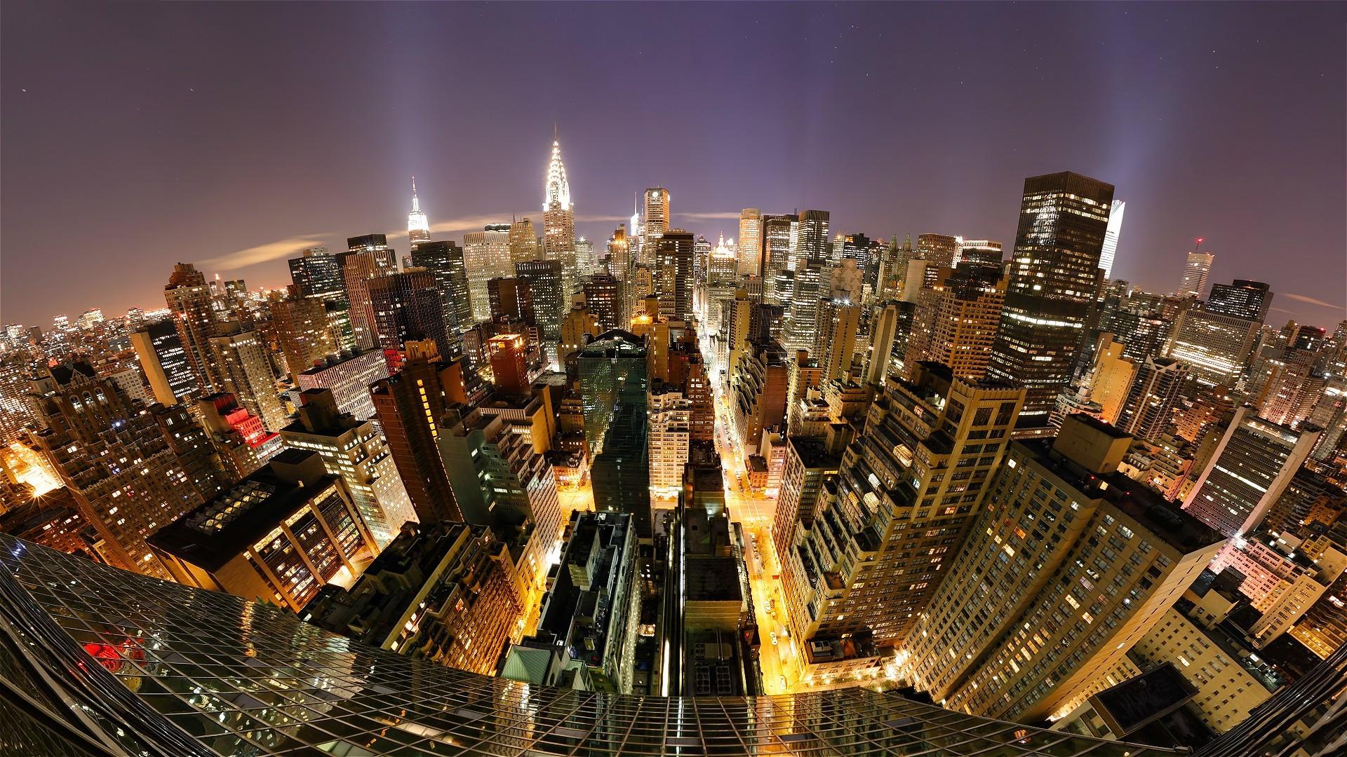 New York City At Night Background Wallpaper
