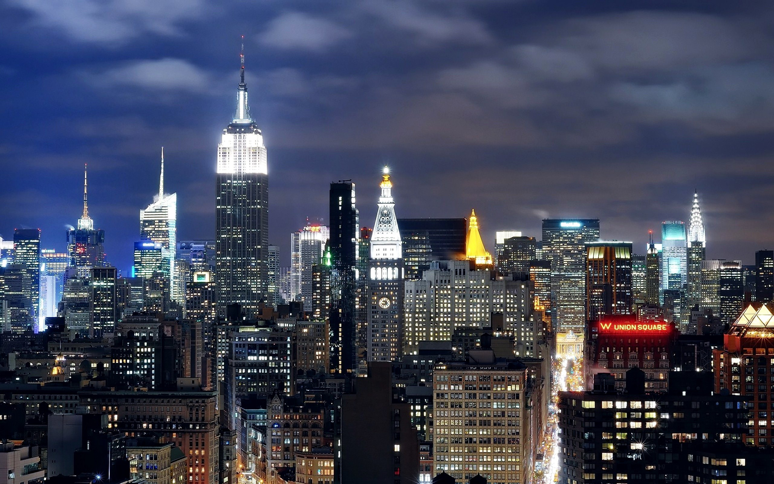 Midtown Manhattan, New York skyscrapers at night | Widescreen and Full .