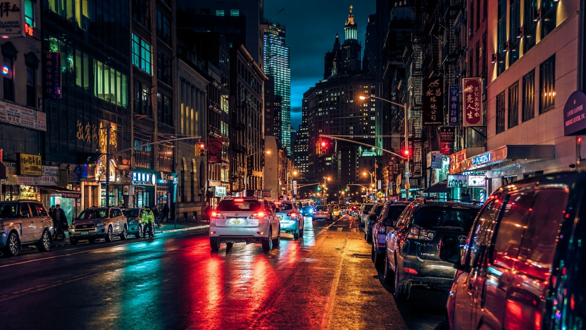 Chinatown New York City by night wallpaper