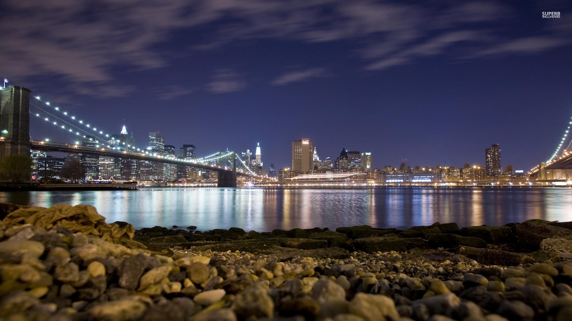 brooklyn bridge at night HD Wallpaper – New York City Wallpaper New York  Wallpaper USA Wallpaper