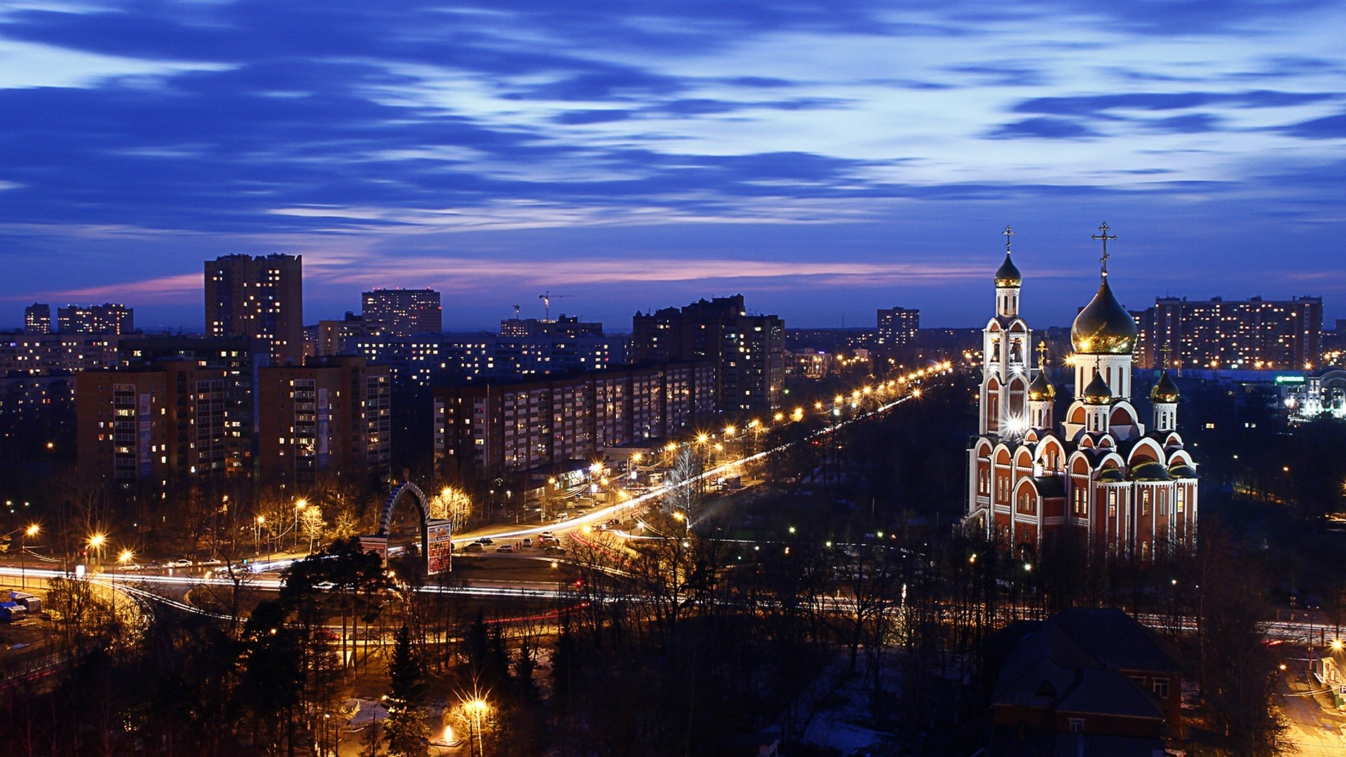 Preview wallpaper city , night, cathedral, sky, view from top,
