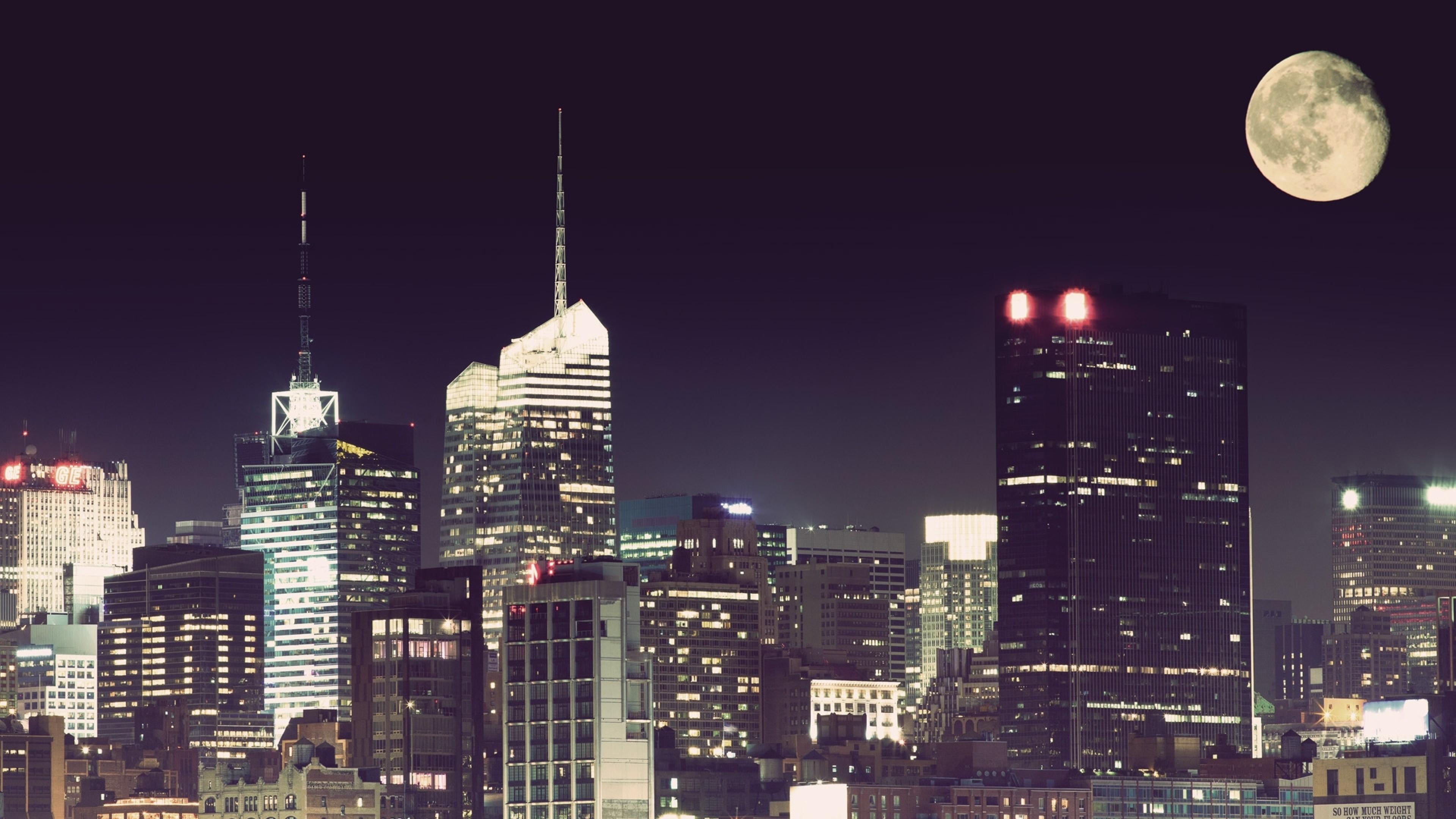 Wallpaper city, night, moon, new york