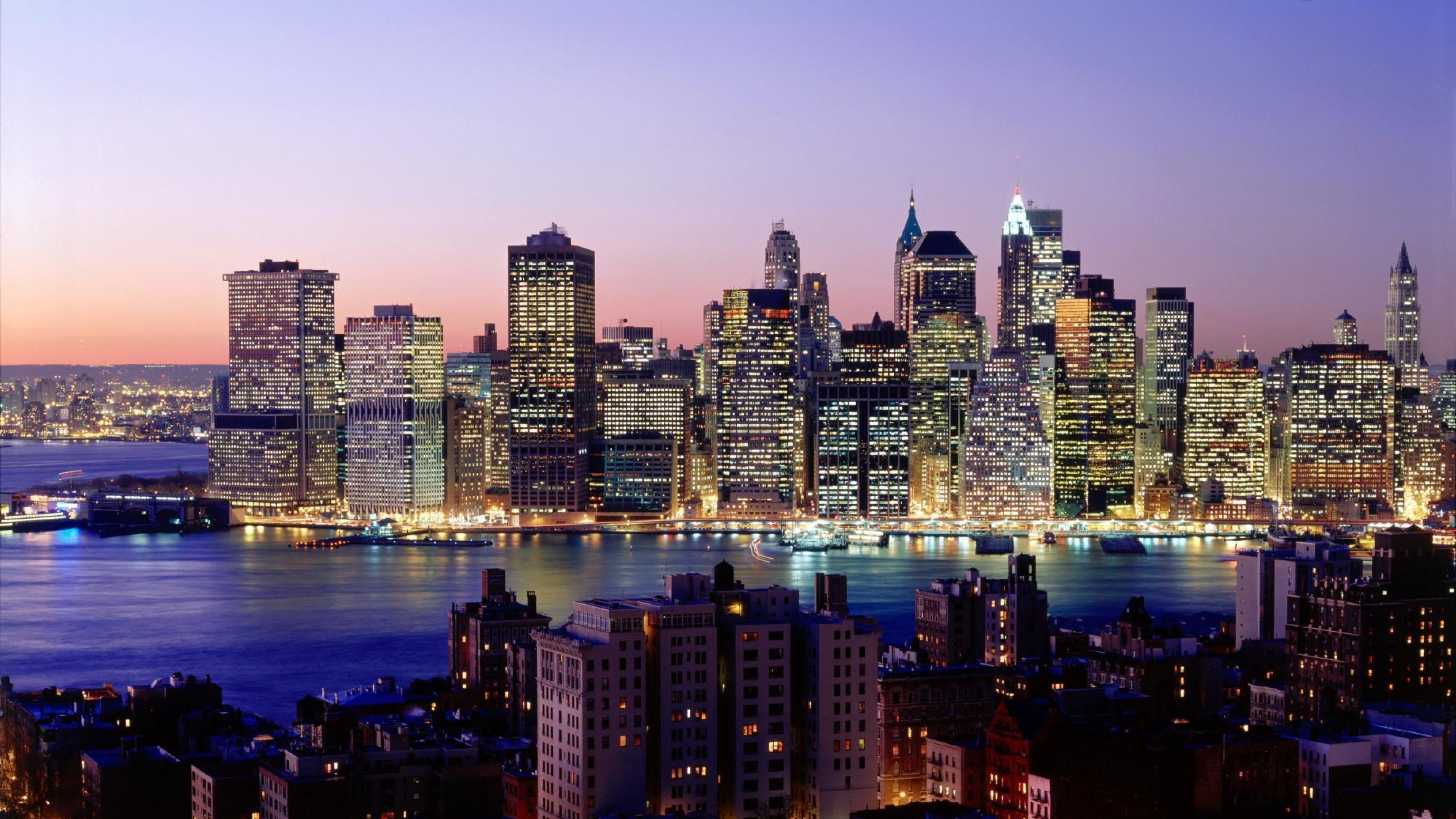 Wallpaper new york, skyscrapers, river, night, lights, city