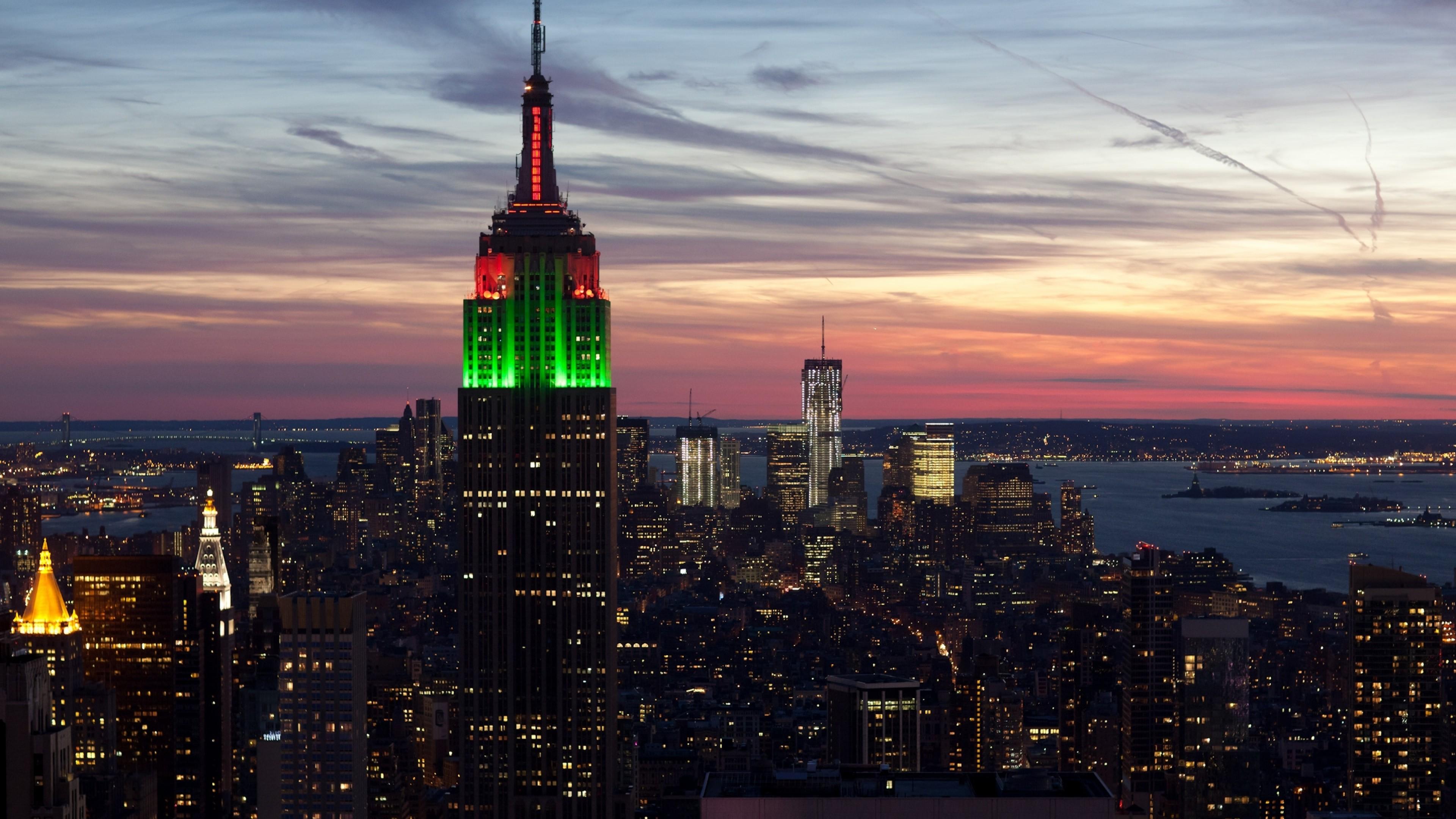 Wallpaper city, new york, empire state building, sunset