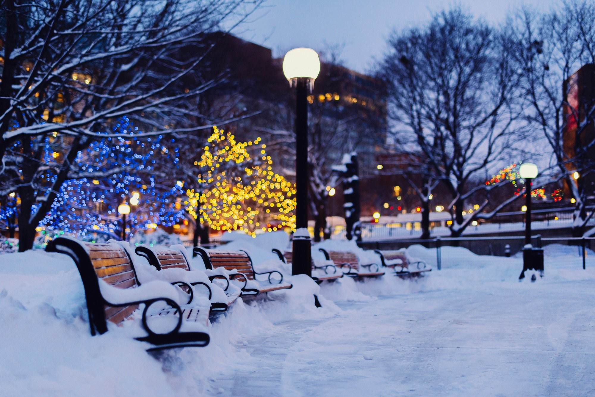 winter shops city night snow wallpaper background